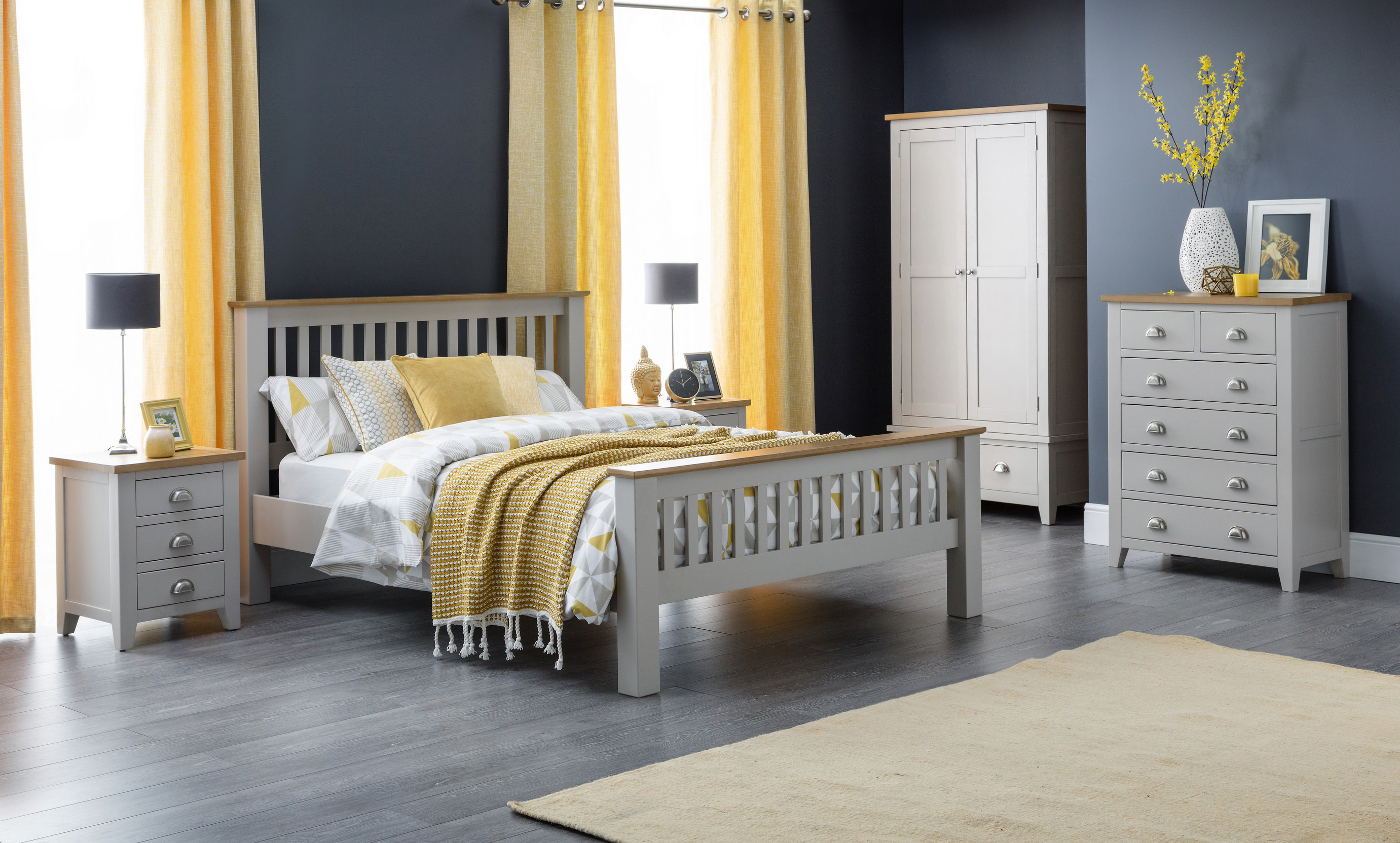 Julian Bowen Richmond Grey Oak Bedroom Furniture Metal Handles