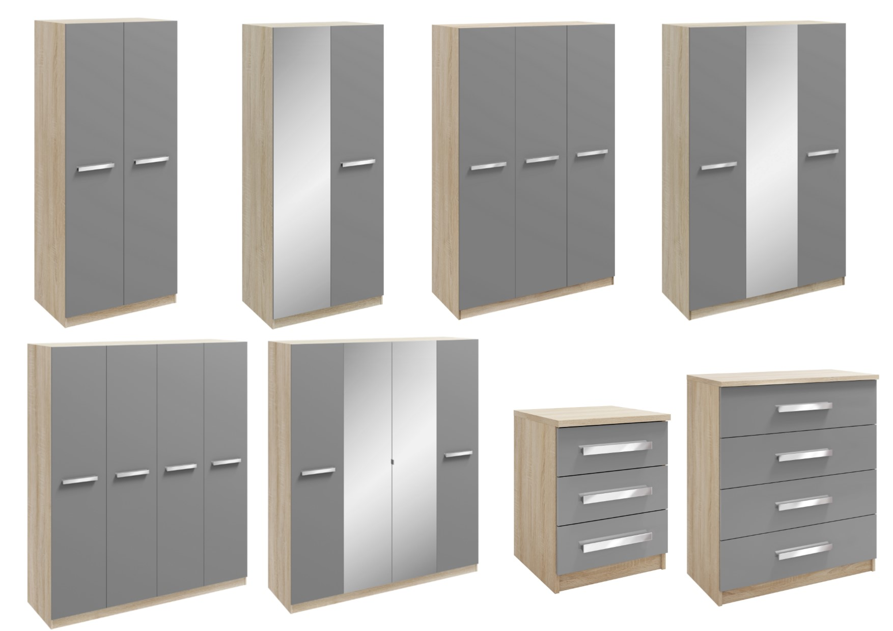 Genoa Oak Grey High Gloss Bedroom Furniture Range Wardrobes Bedside Drawers