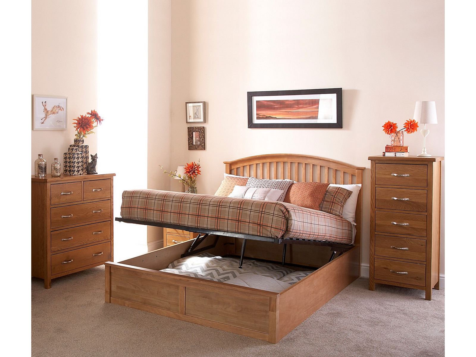 brand new 87651 d33d0 Details about Madrid 4ft6 Double Wooden Ottoman Bed - Oak - Shaker Style  Curved Headboard