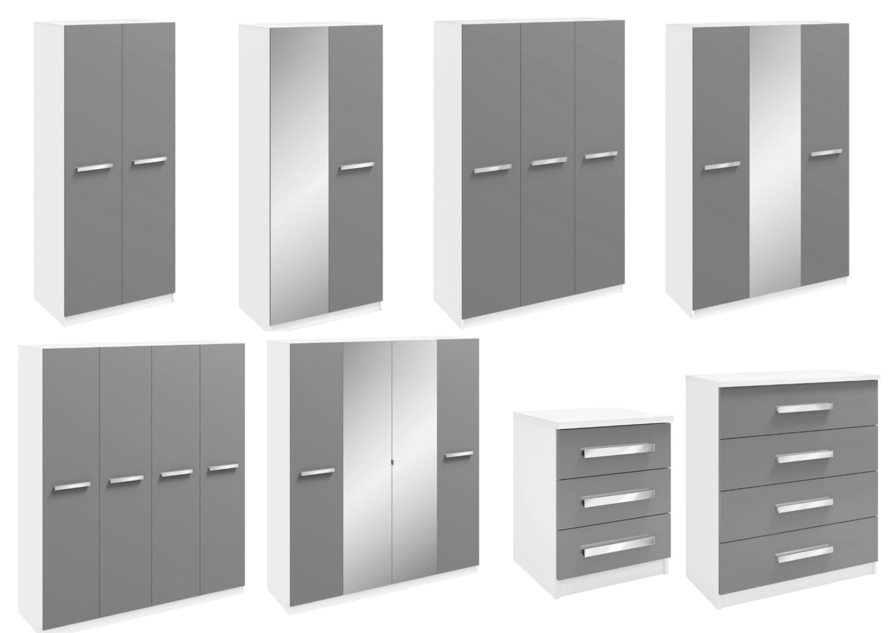 Moritz White Grey High Gloss Bedroom Furniture Wardrobes Bedside Drawers Ebay