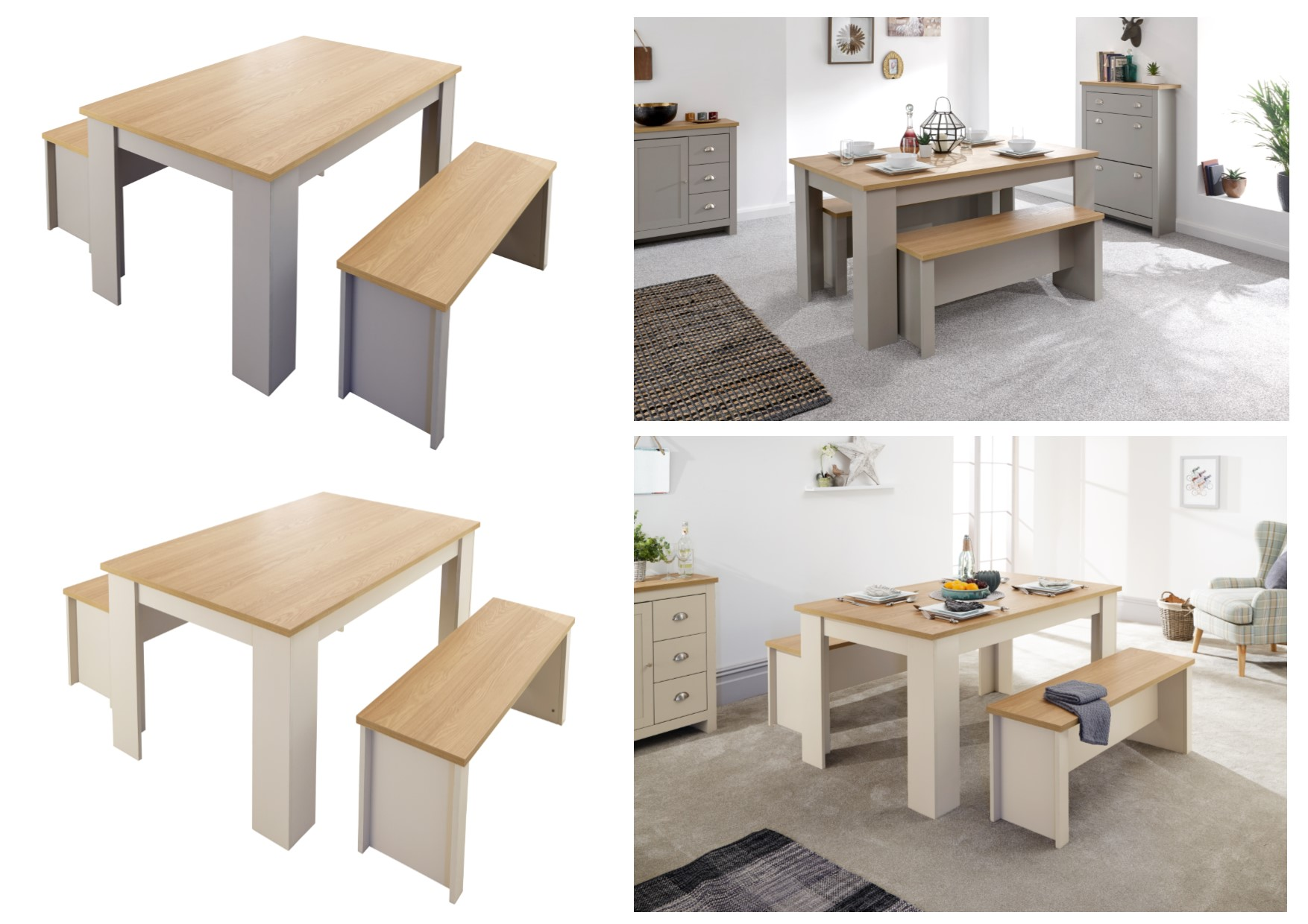 Lancaster Dining Table Bench Set 120cm 150cm Cream Or Grey With Oak Tops Ebay