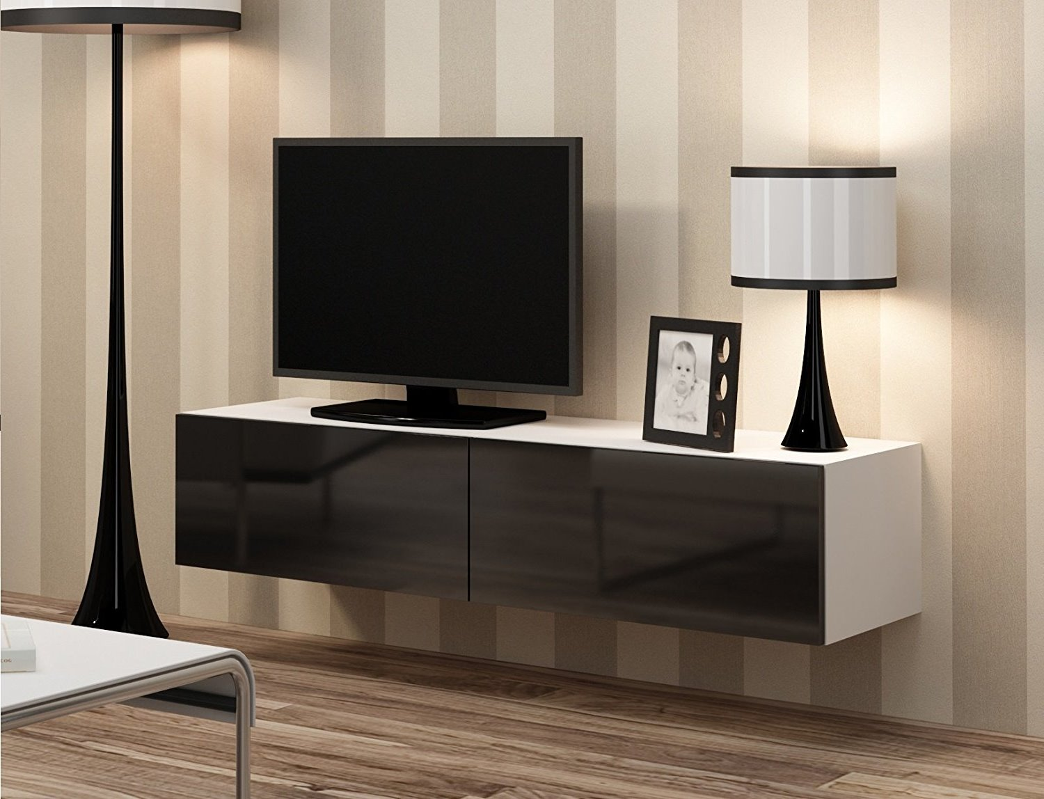 Details About High Gloss White Black Tv Cabinet Wall Mounted Floating Entertainment Unit 140