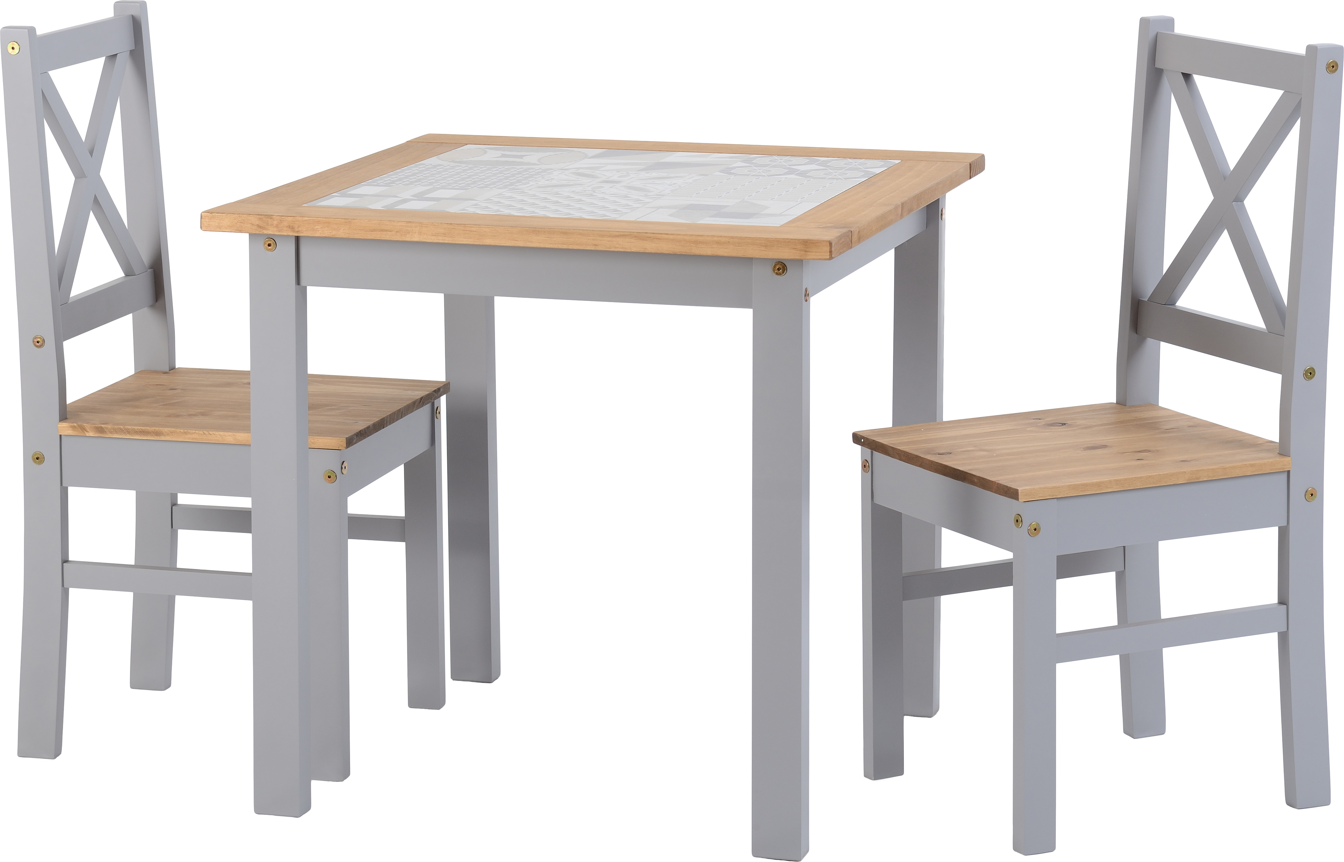 Seconique Ceramic Tile Top Dining Set Table 2 Chairs Grey Pine