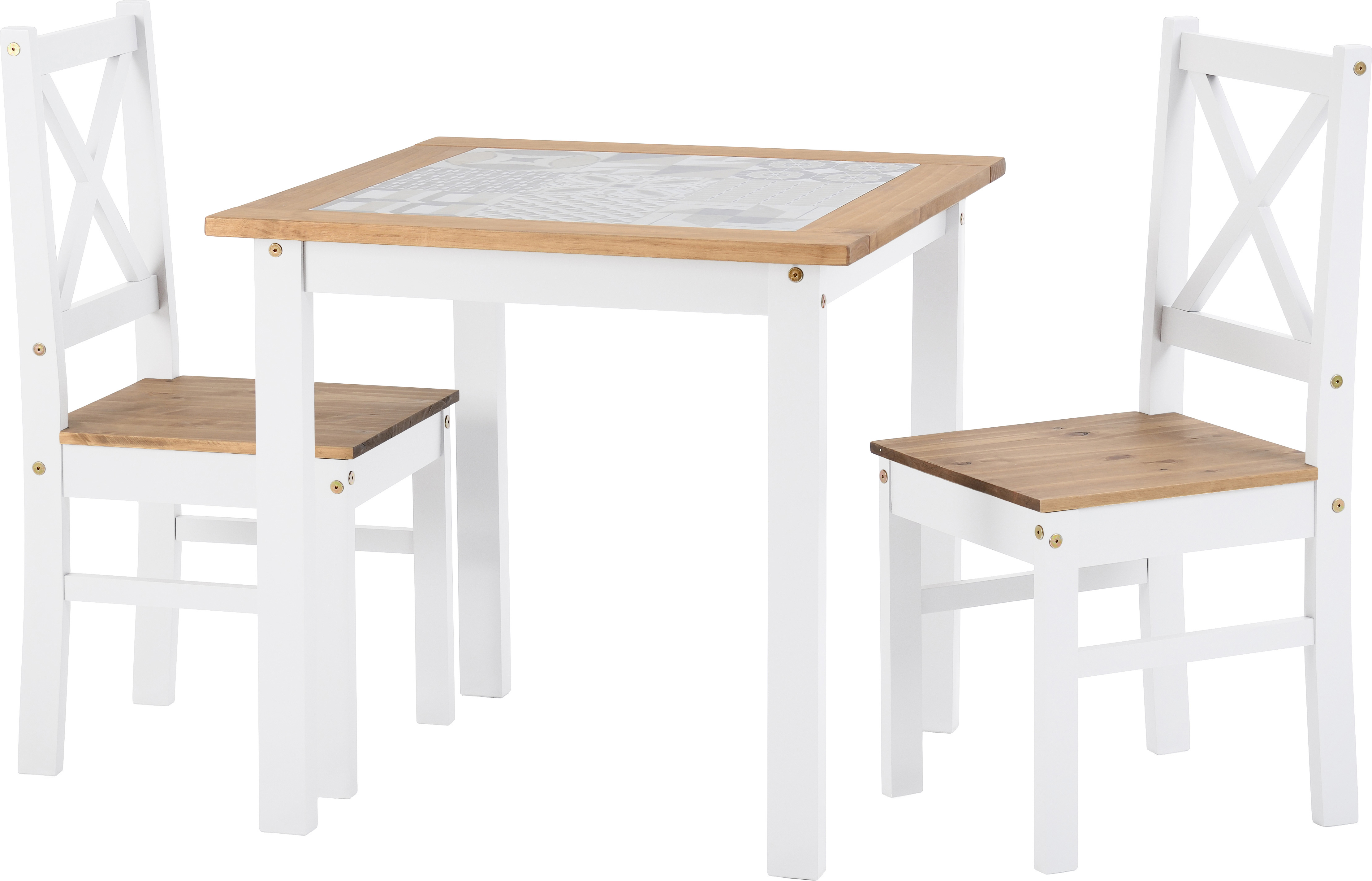 Seconique Ceramic Tile Top Dining Set Table 2 Chairs White Pine