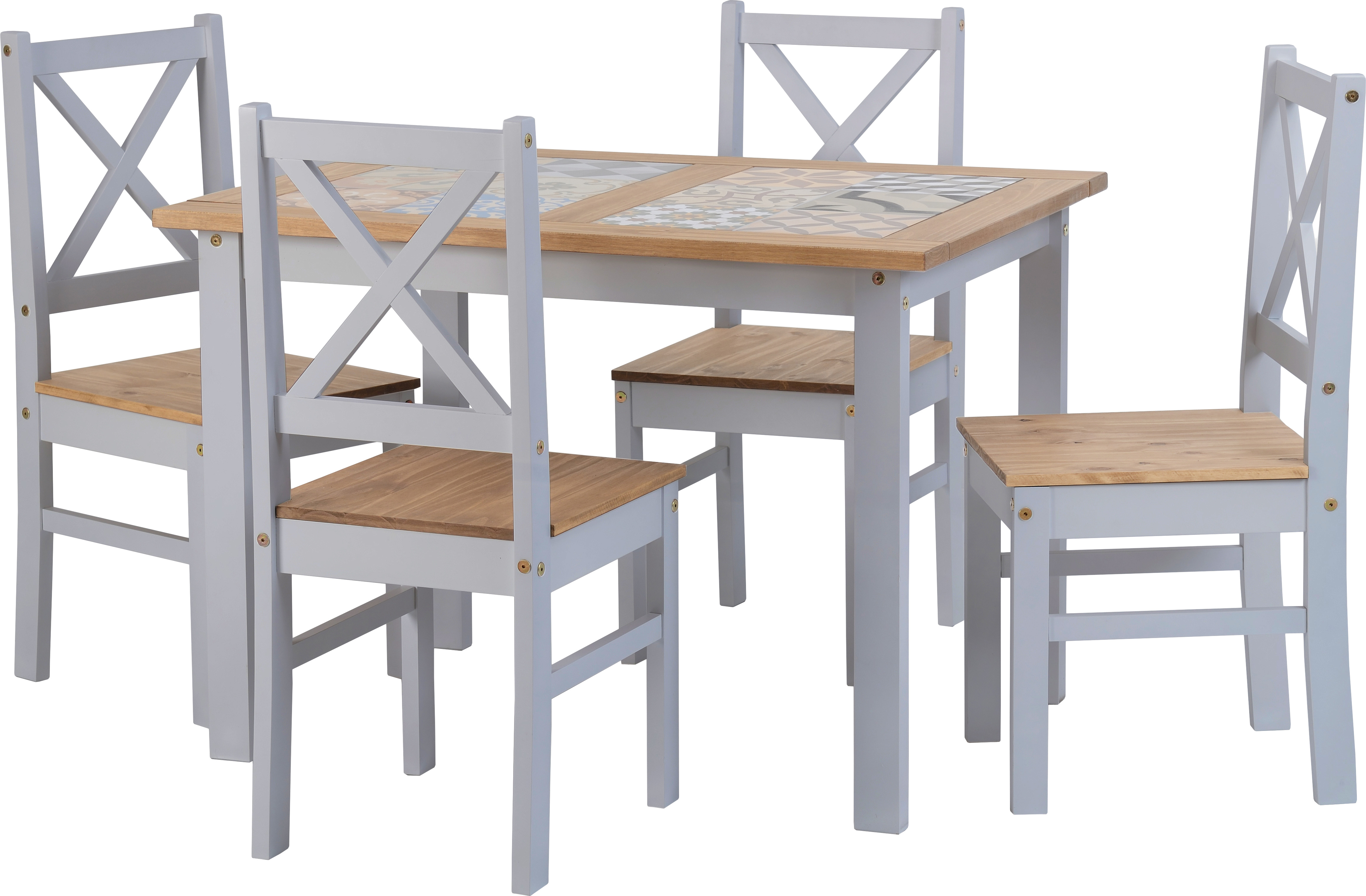 Seconique Ceramic Tile Top Dining Set Table 4 Chairs Grey Pine