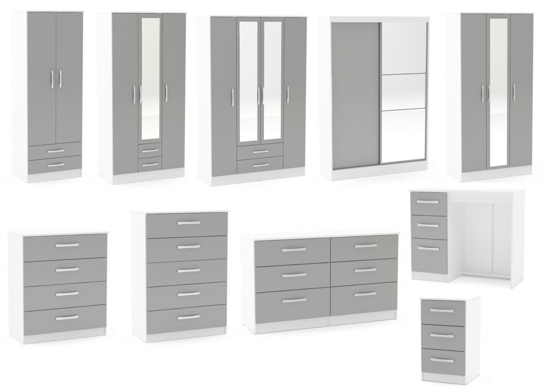 Birlea Lynx White & Grey Gloss Bedroom Furniture Wardrobe Chest ...