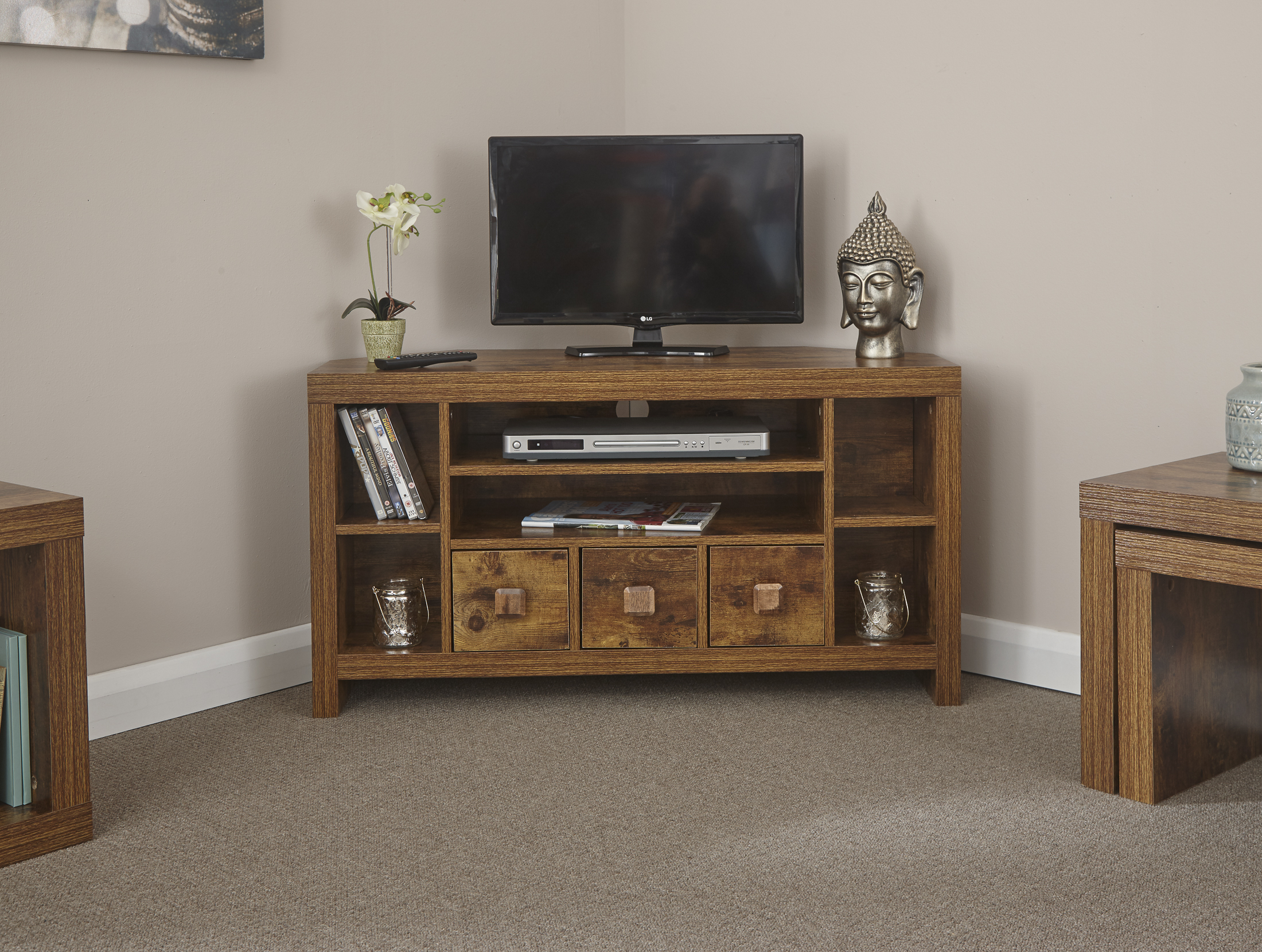 quite nice 72c40 7324a Details about Jakarta Corner TV Cabinet with Drawers - Dark Mango Wood  Furniture Range