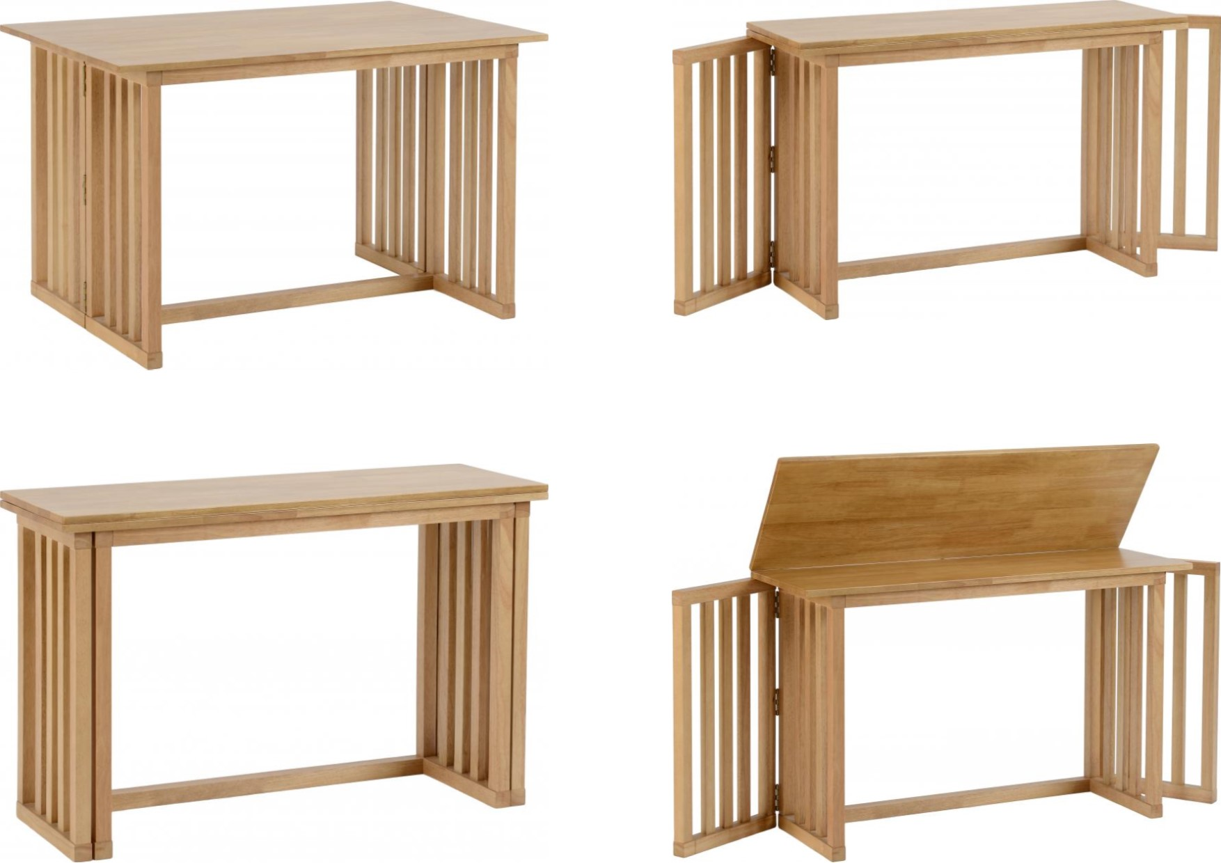 Details About Richmond Foldaway Dining Table E Saving Multi Purpose Slatted Oak Varnish