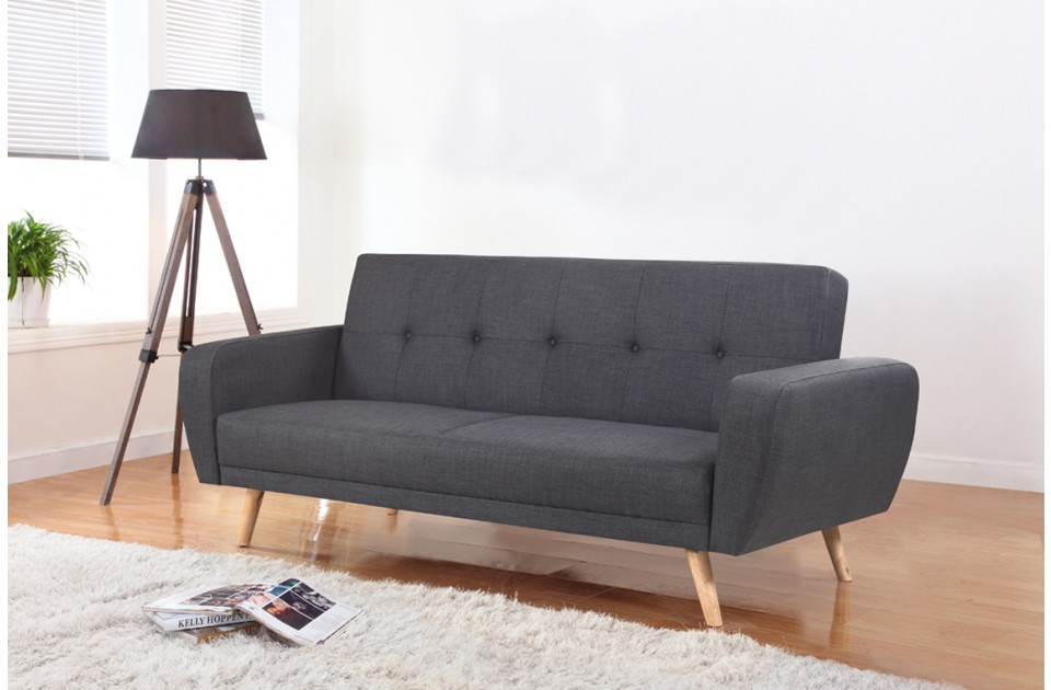 Grey Fabric Sofa Bed With Wooden Legs