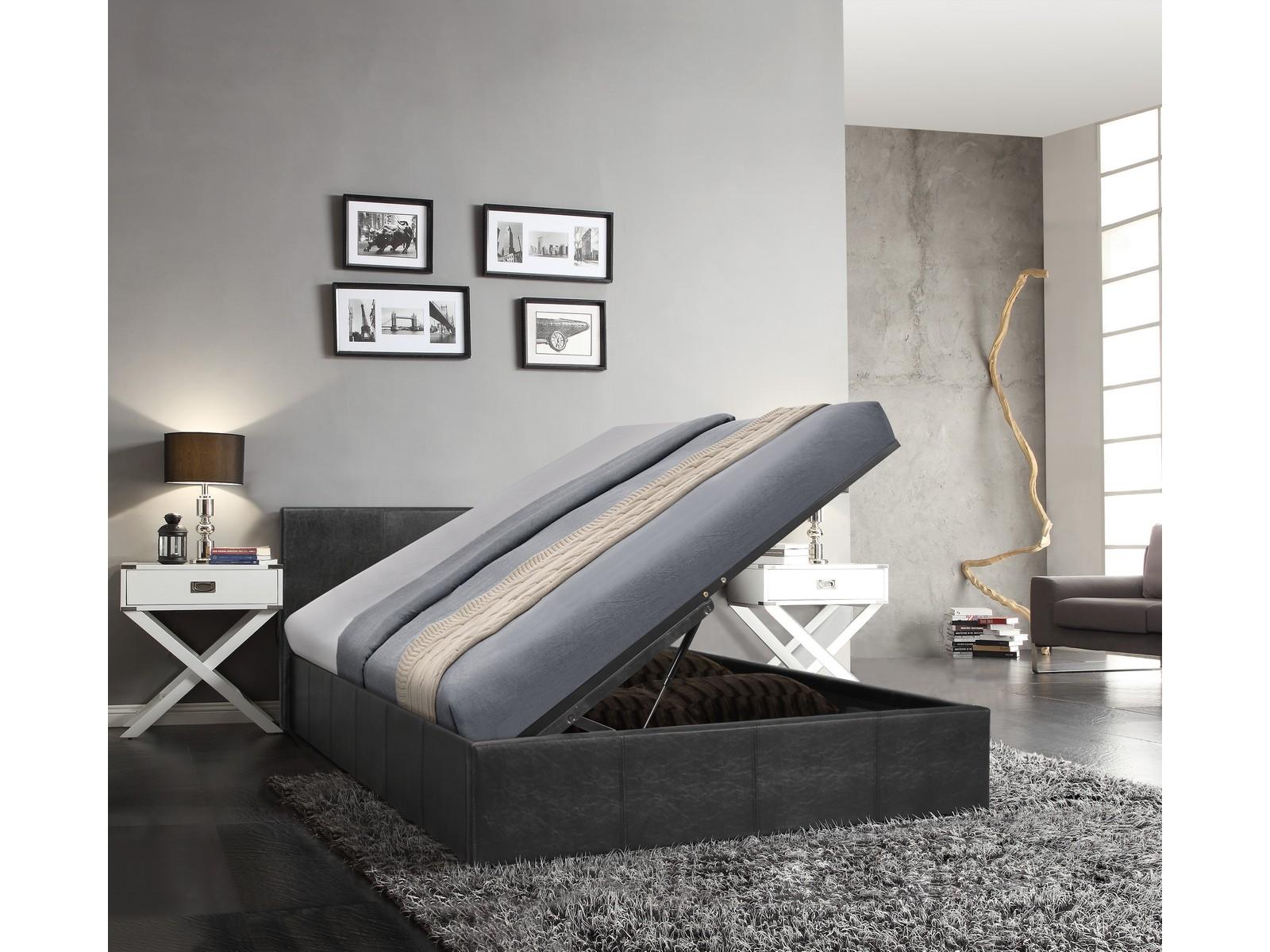 Cool Details About Gator Side Lift Ottoman Bed Mega Storage 4Ft6 Double Black Machost Co Dining Chair Design Ideas Machostcouk
