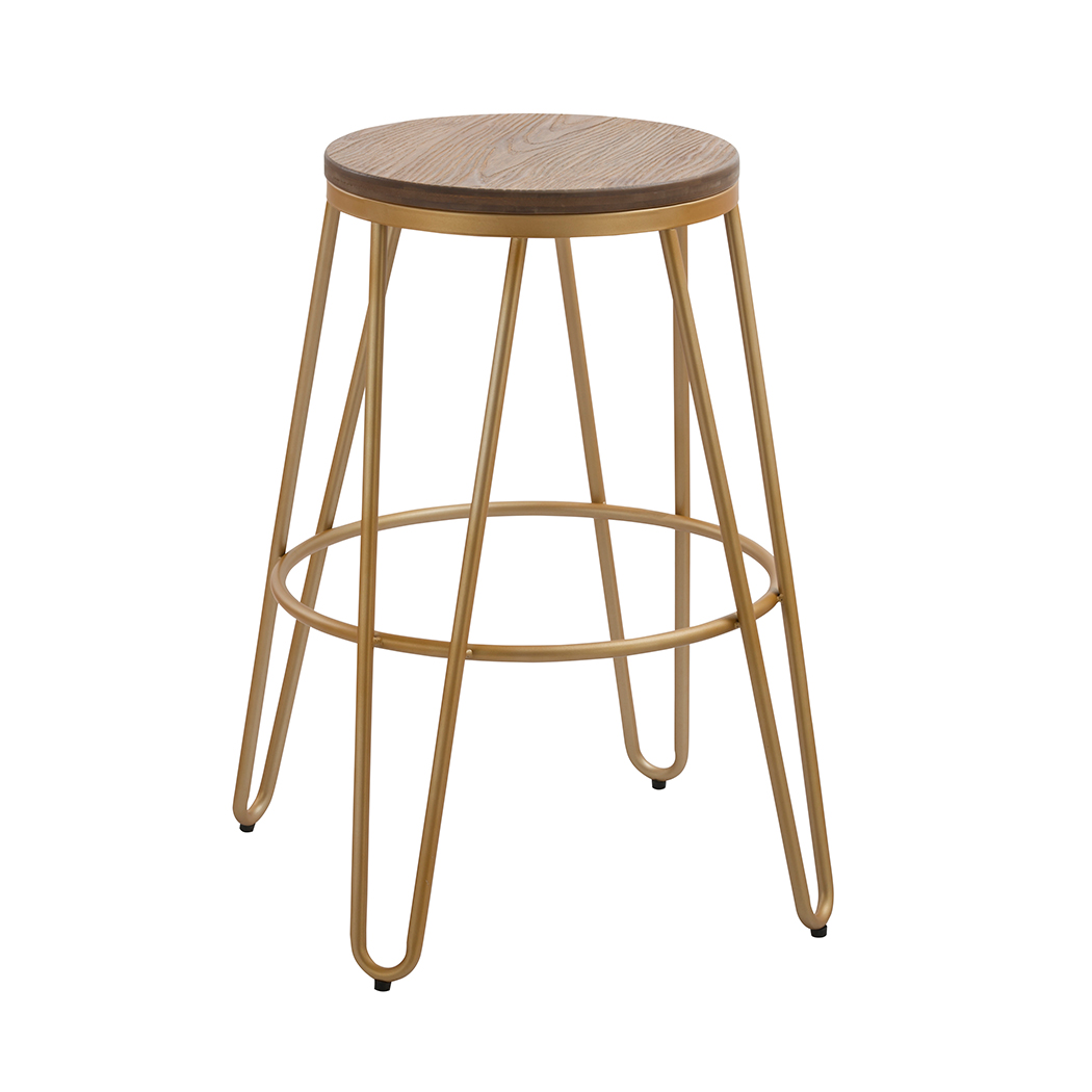 Awesome Details About Ikon Bar Stool With Solid Wood Seat And Gold Effect Metal Hairpin Legs Gmtry Best Dining Table And Chair Ideas Images Gmtryco