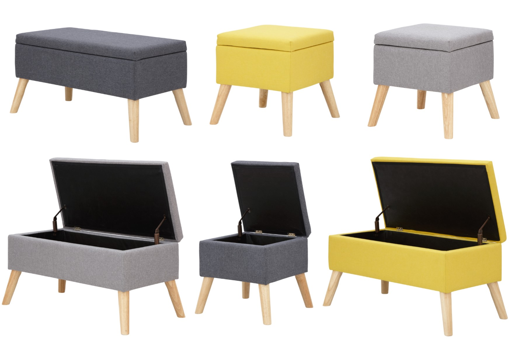 Alexandra Storage Ottoman Box Bench Small Or Large Charcoal Grey Mustard Ebay
