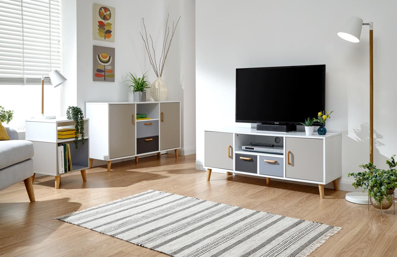 Delta Scandinavian Style Living Furniture Solid Wood Feet White Grey Multi T Ebay