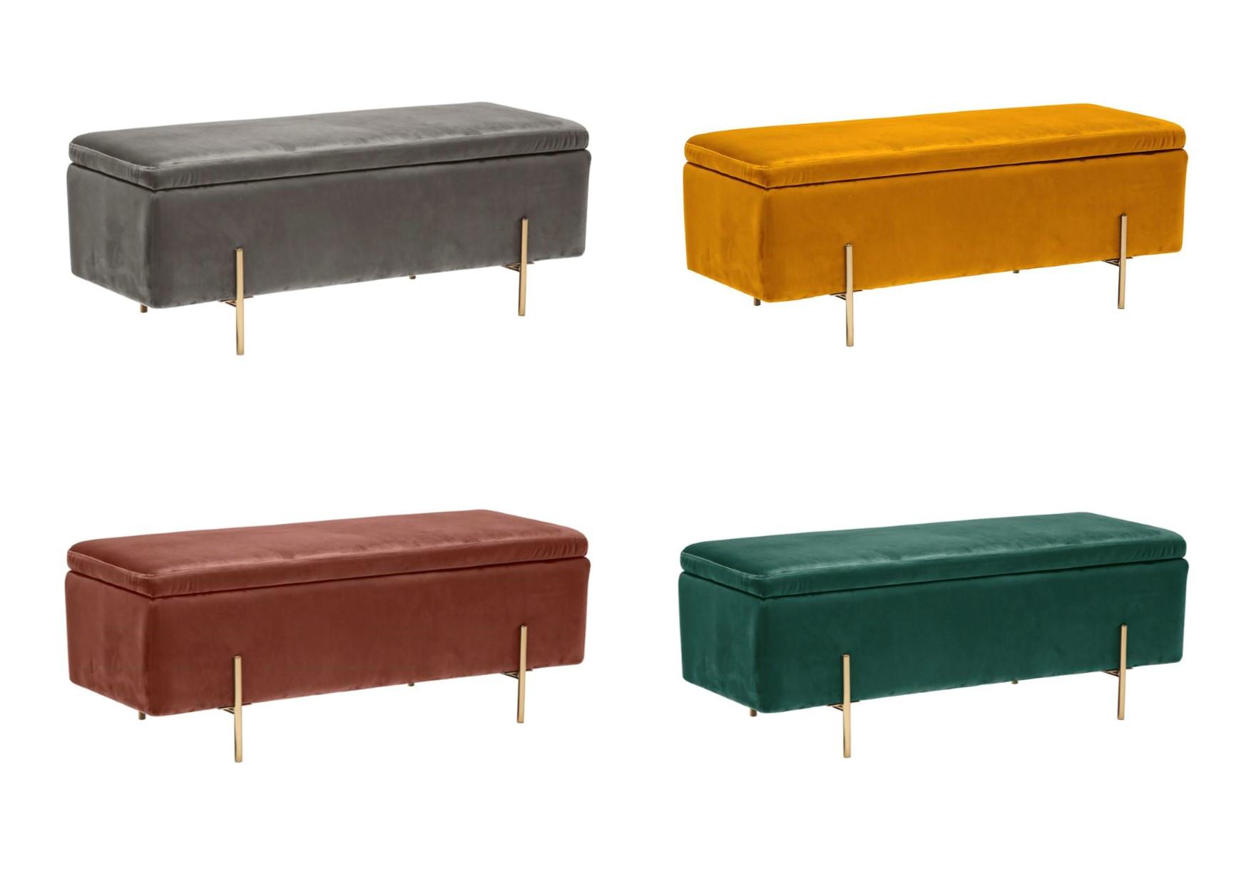 Lpd Lola Velvet Fabric Storage Ottoman Bench Grey Mustard Pink Teal Ebay