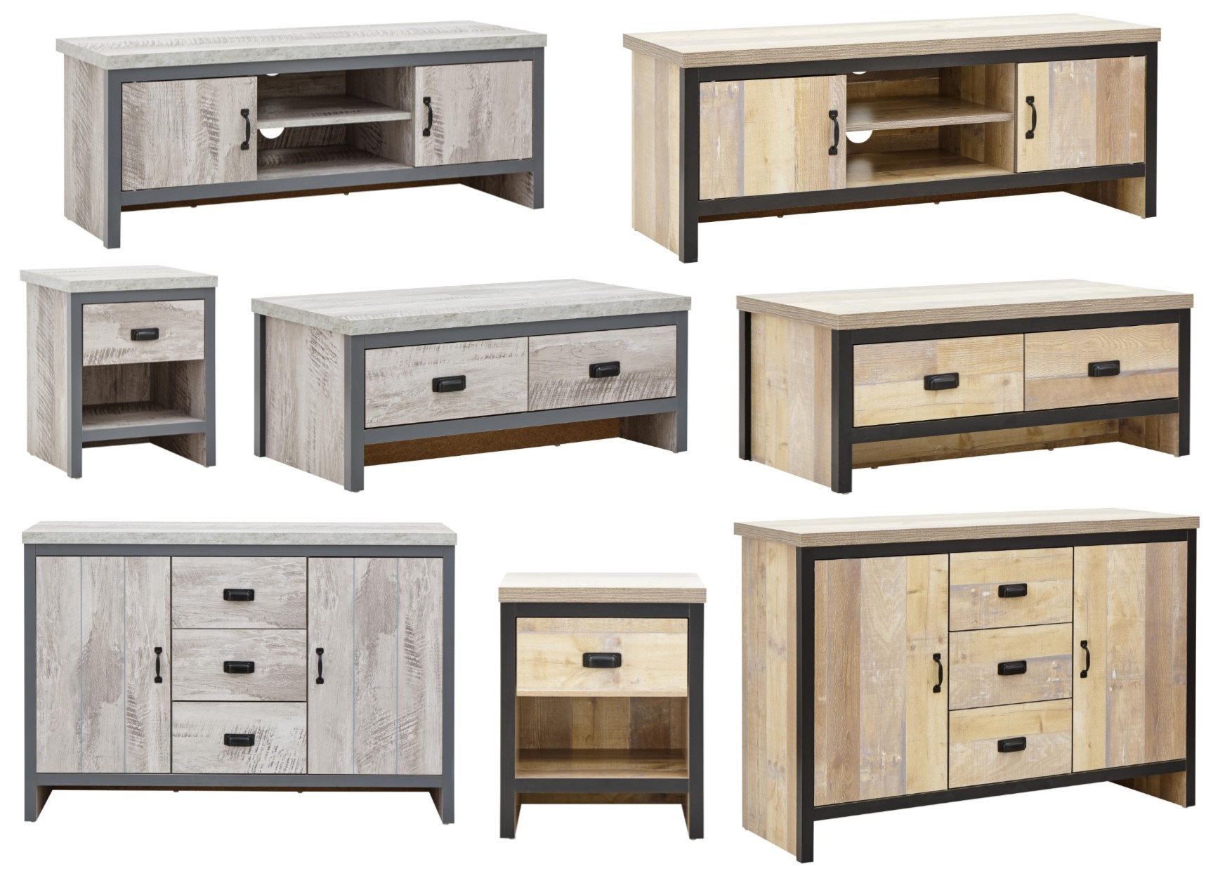 Details about Boston Grey or Oak Urban Design Living Room Furniture -  Tables Sideboard TV Unit