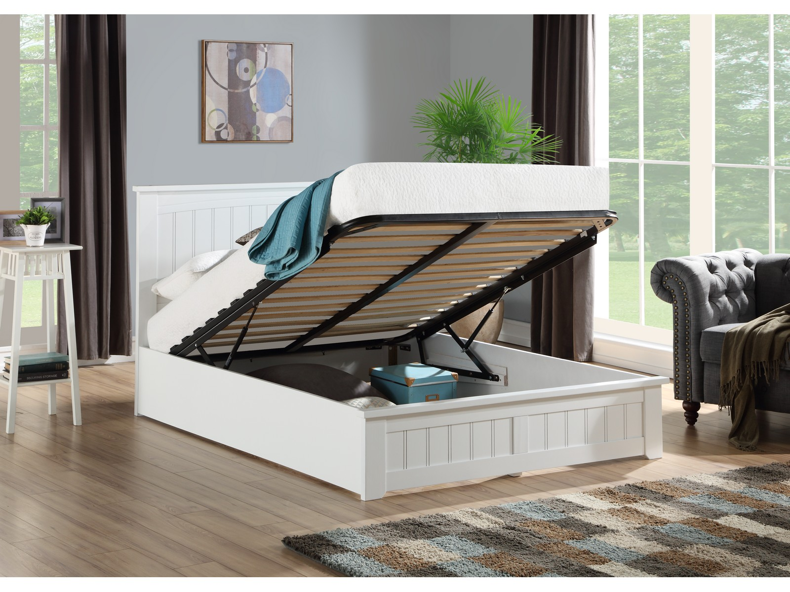 Picture of: Venice Elegant Solid Wooden Ottoman Storage Bed White Wood 5ft Kingsize Ebay