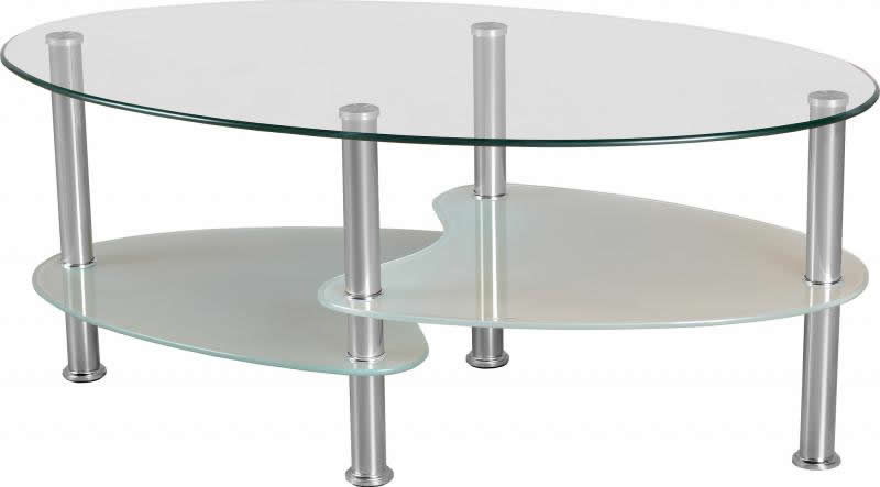 Seconique Cara Coffee Table Clear Gl Chrome Oval 3 Tier