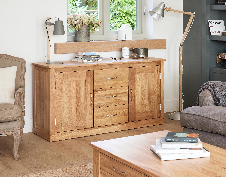 details about baumhaus mobel oak large 2 door 3 drawer sideboard solid oak collection