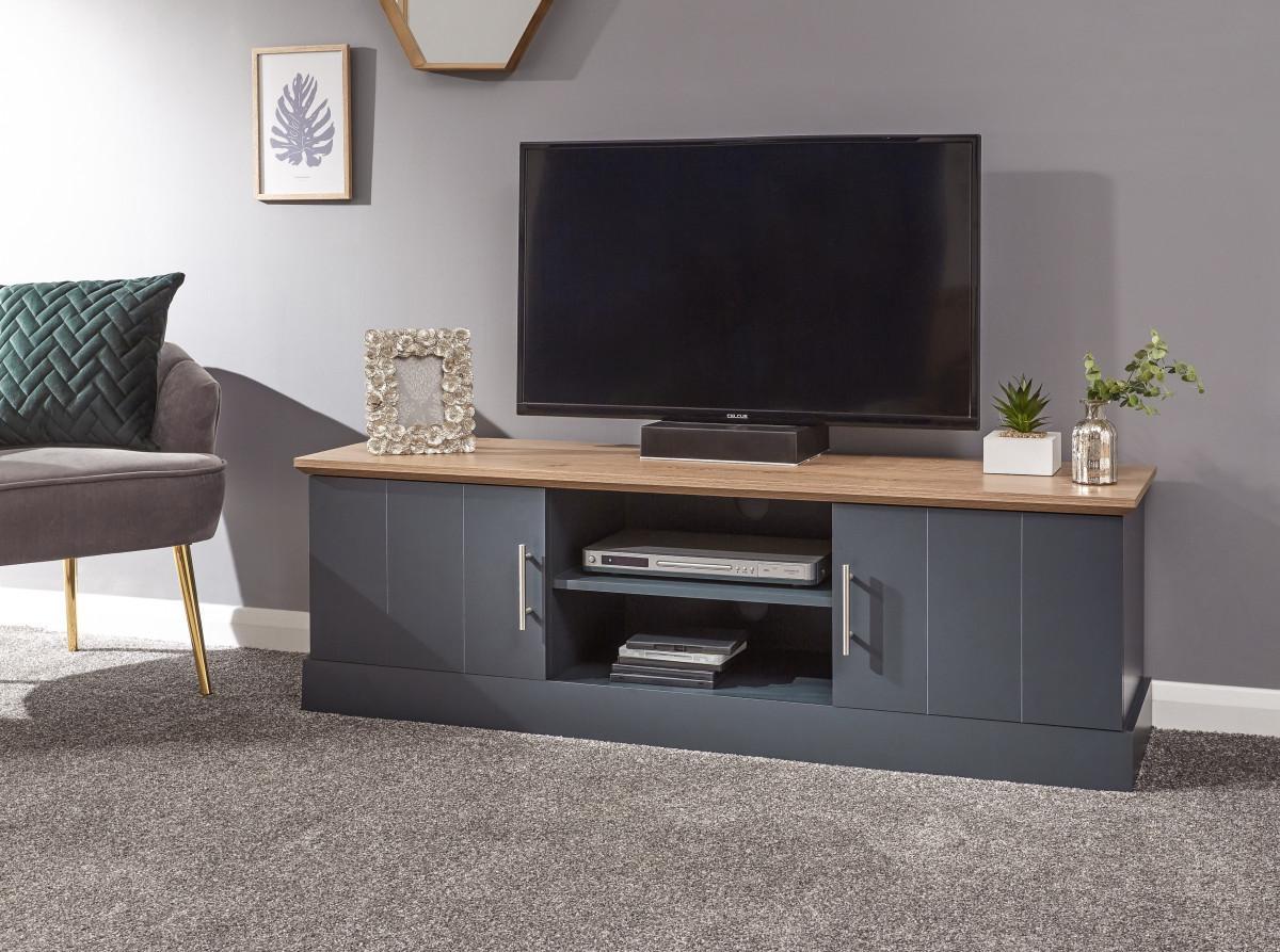Kendal Modern Slate Blue With Oak Top Silver Handles Large Tv Unit 5060713890027 Ebay