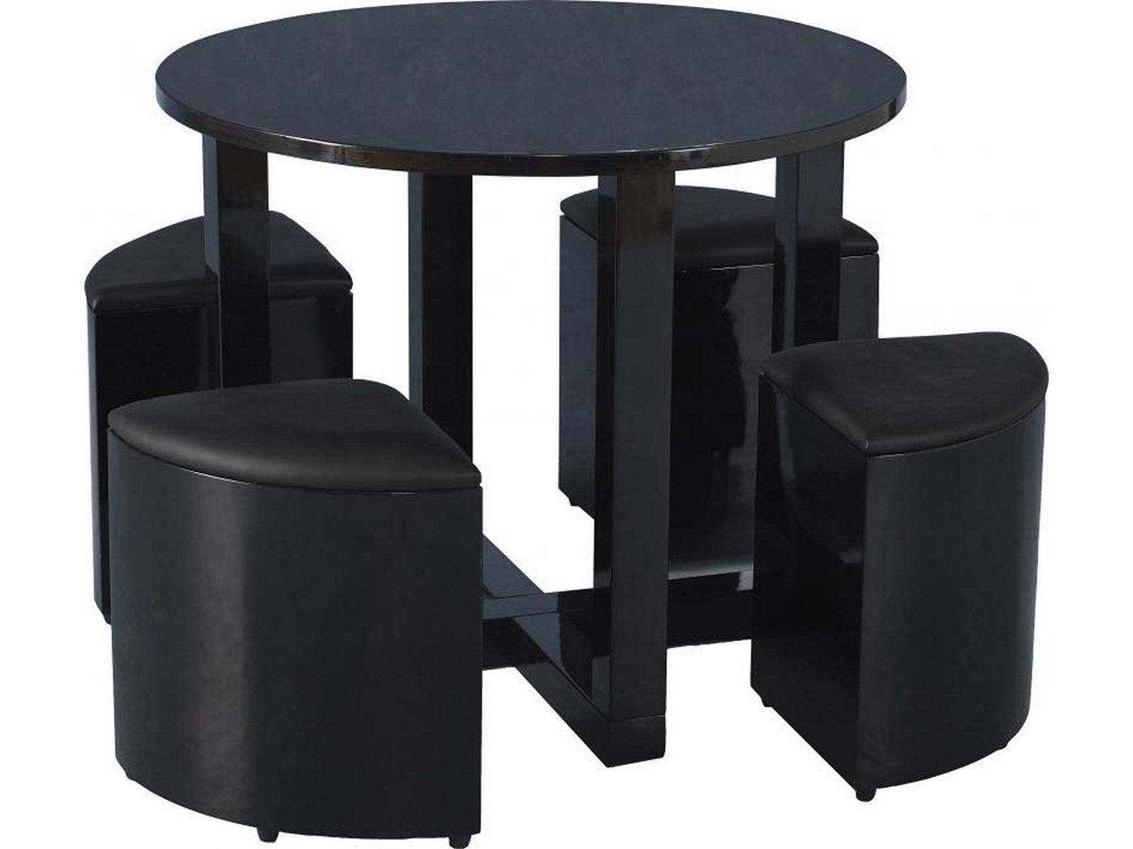 Terrific Details About High Gloss Round Stowaway Dining Table And Chair Set With 4 Seats Black Gloss Home Interior And Landscaping Ologienasavecom