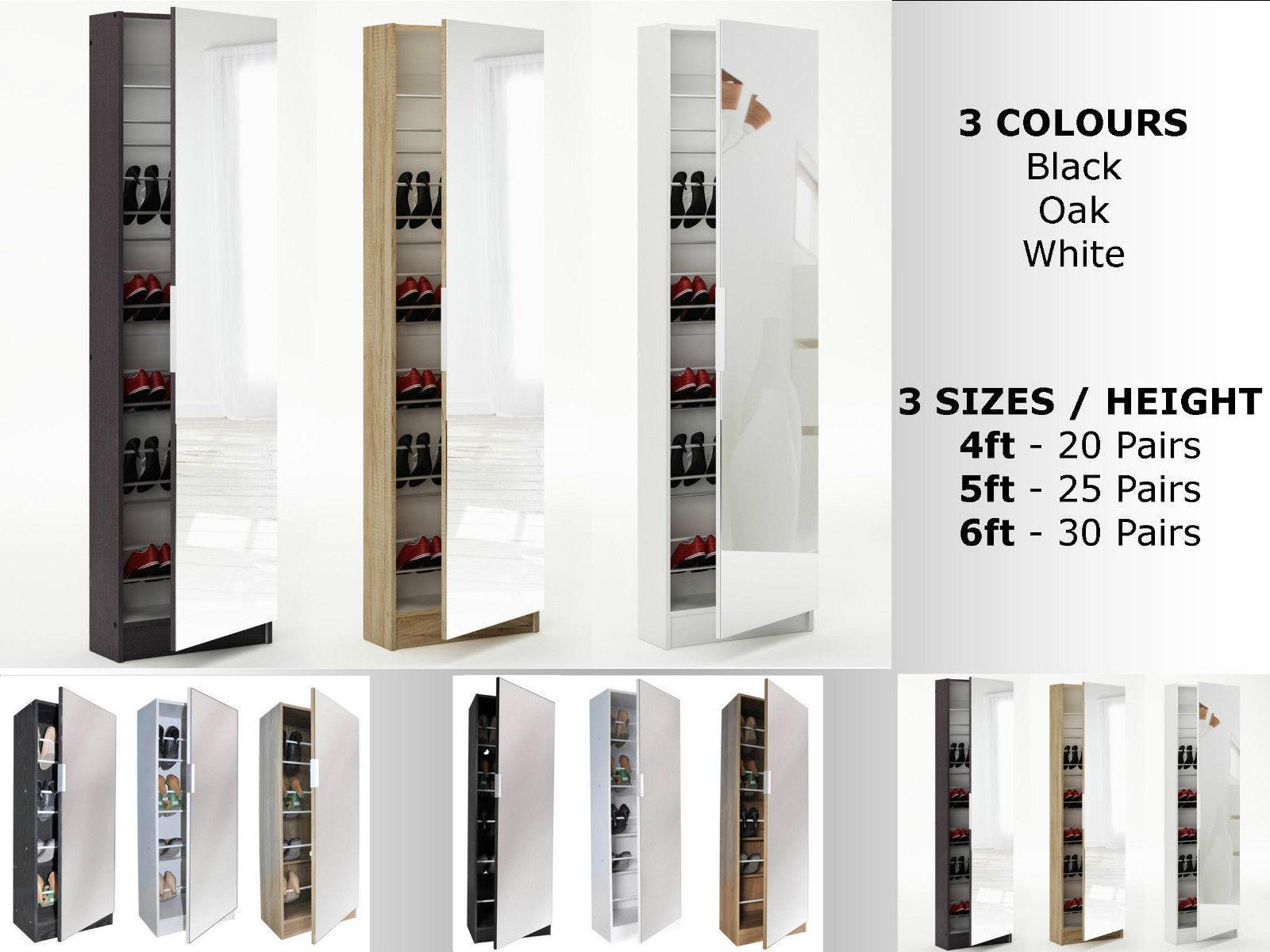 Mirrored Shoe Cabinet Storage Rack   Full Mirror   3 Sizes   Black White Oak Part 56