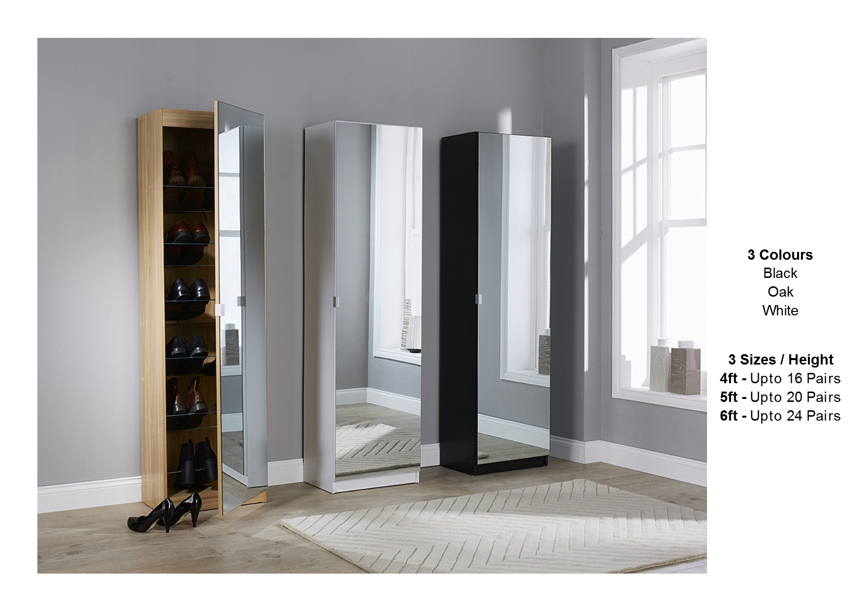 Details About Mirrored Shoe Cabinet Storage Rack Full Mirror 3 Sizes Black White Oak