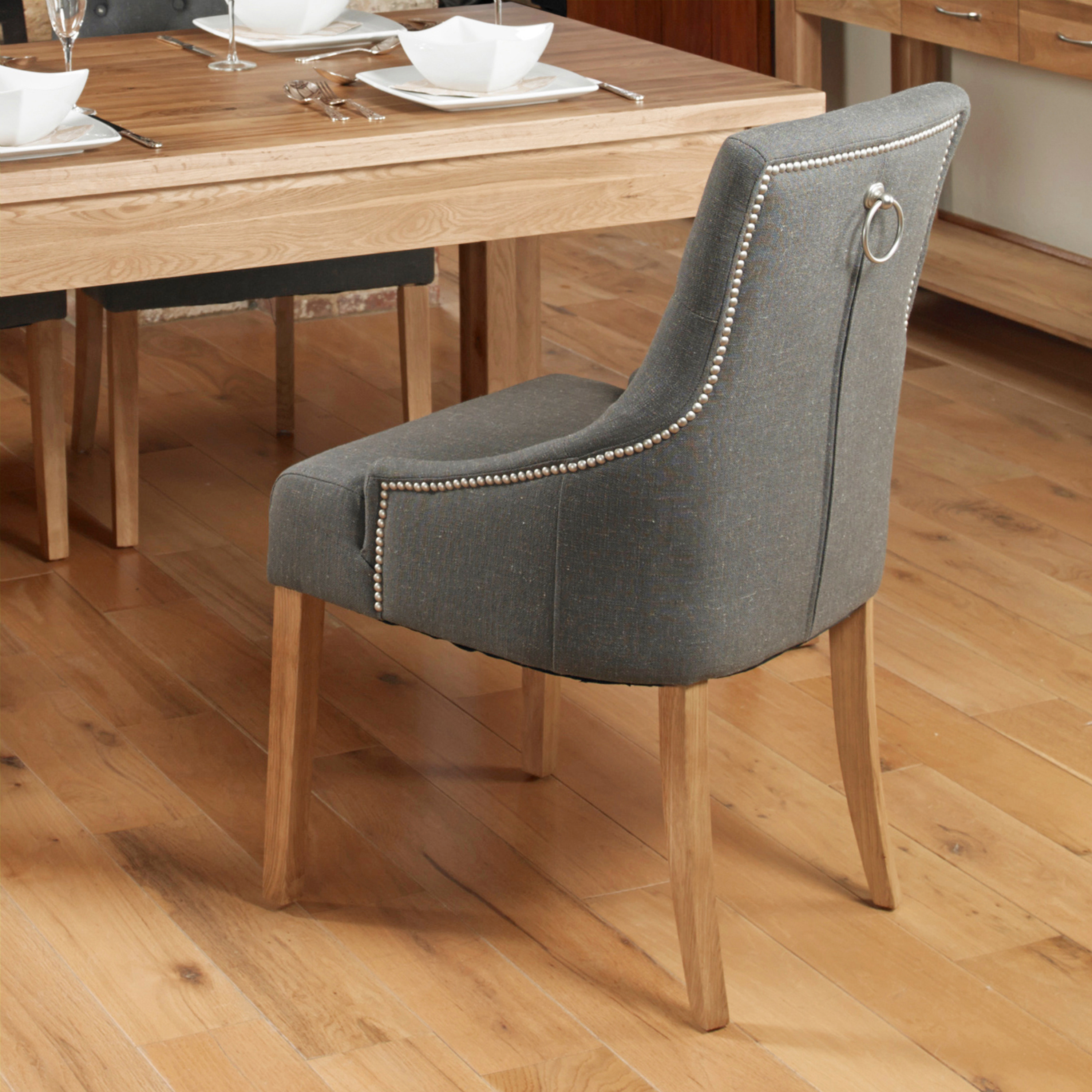 Baumhaus Oak Accent Upholstered Fabric Dining Chairs In Slate Pack