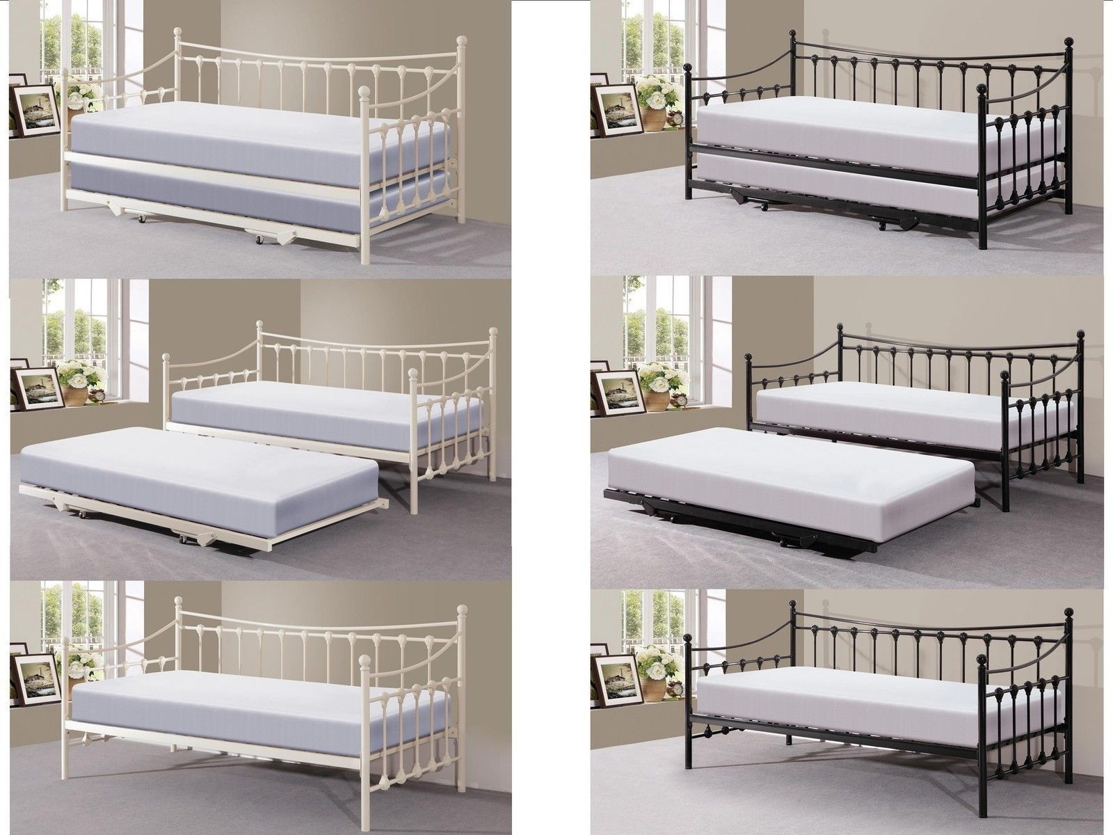 Metal Guest Day Bed With Trundle With Or Without