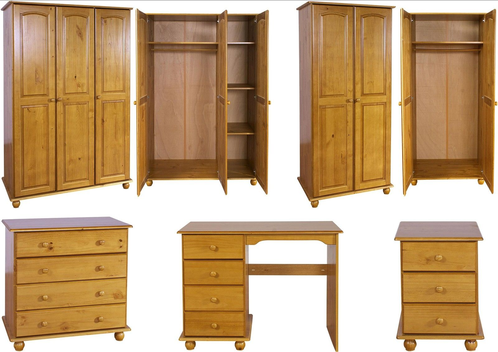 Hampshire Solid Antique Pine Bedroom Furniture Wardrobe Drawers ...