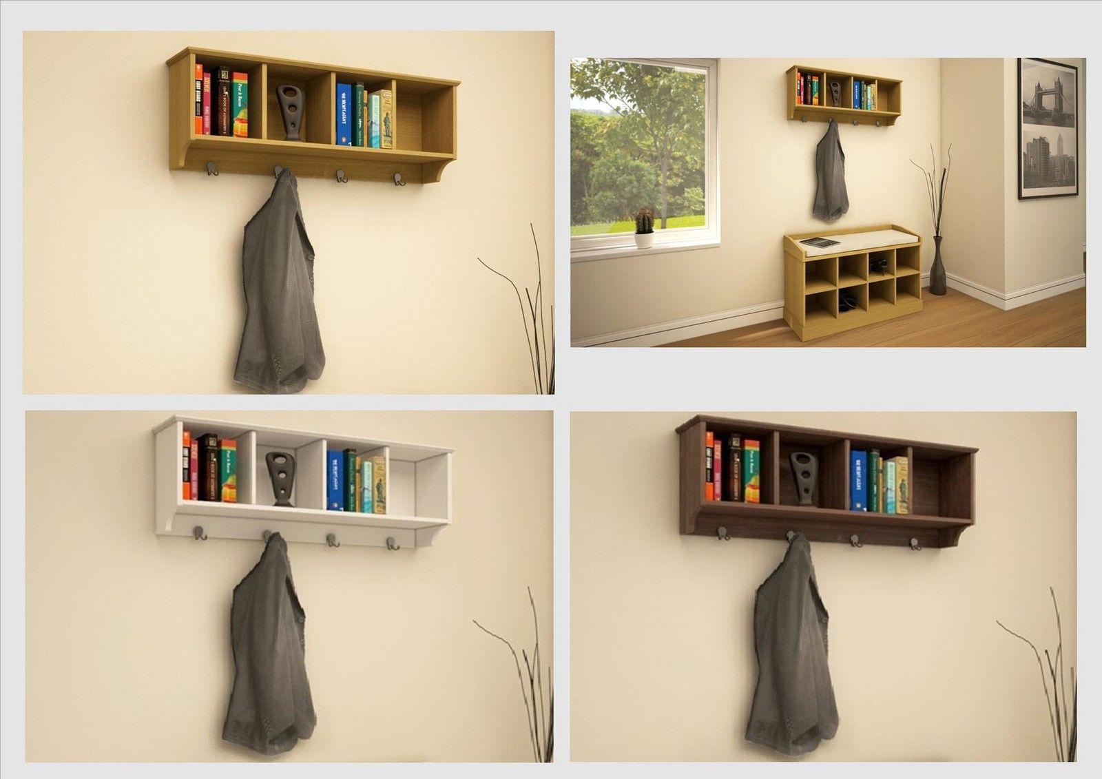 Kempton Hallway Storage Bench And Wall Storage Shelf Rack With Coat Hooks    Perfect Shoe Storage Unit ...