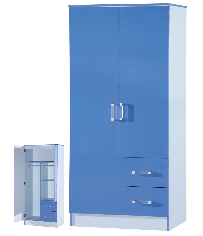 High Gloss Blue 2 Door 2 Drawer Wardrobe Marina Kids
