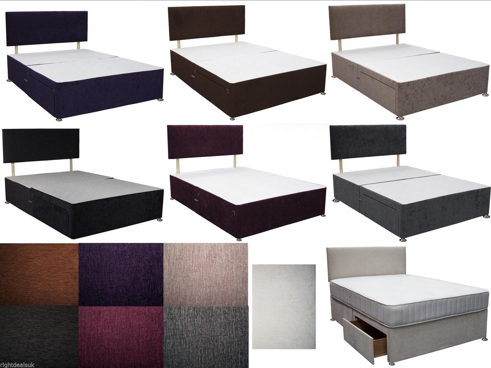 Caspian 3ft single divan bed with drawers storage for Single divan with drawers and headboard