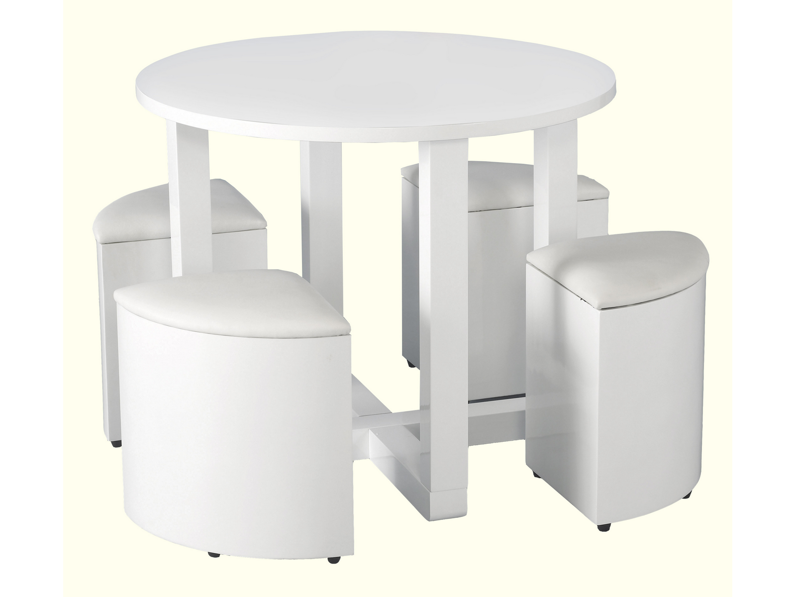 High Gloss Round Stowaway Dining Table And Chair Set With