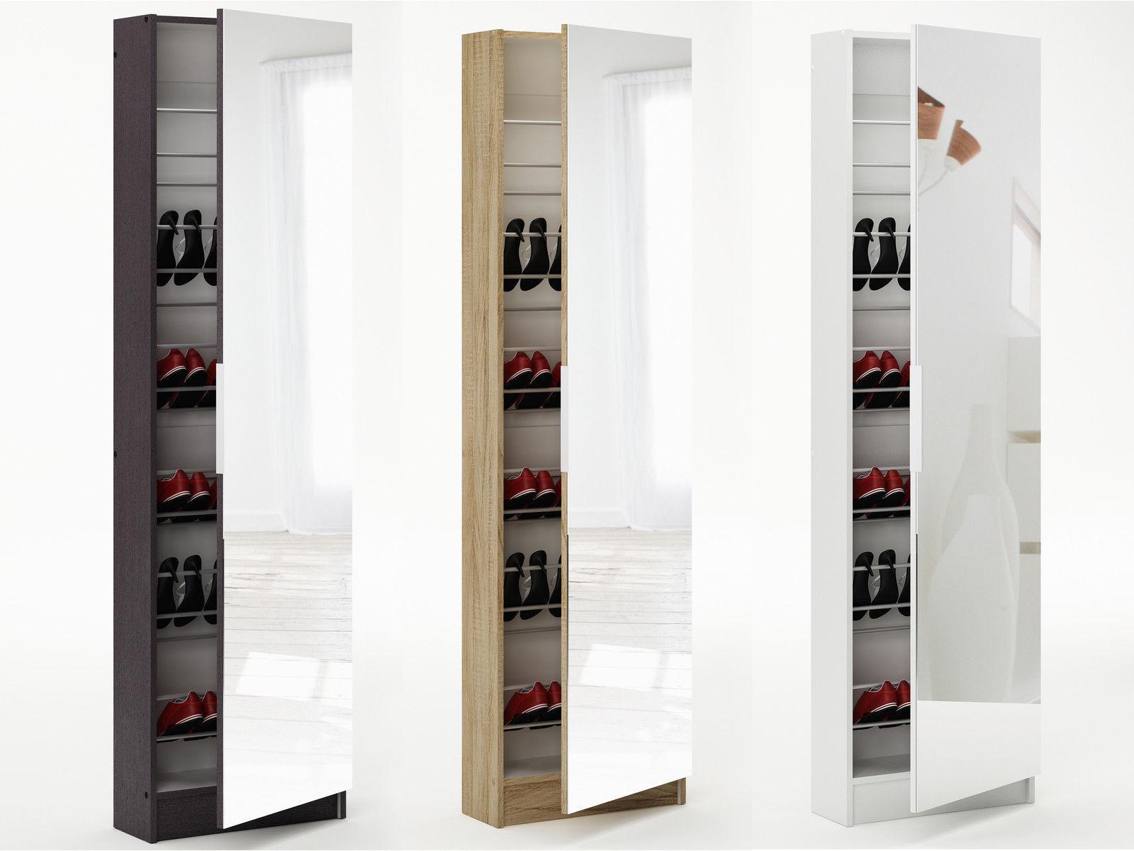 6ft Mirrored Shoe Cabinet Storage 180cm 6 Tier