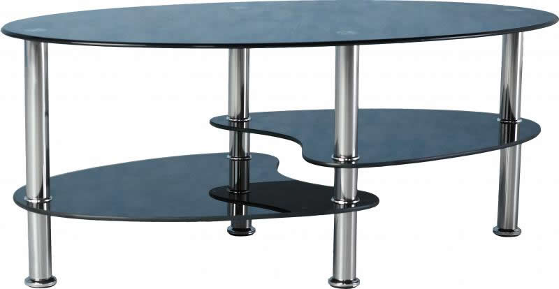 Seconique Cara Coffee Table Black Gl Chrome Oval 3 Tier