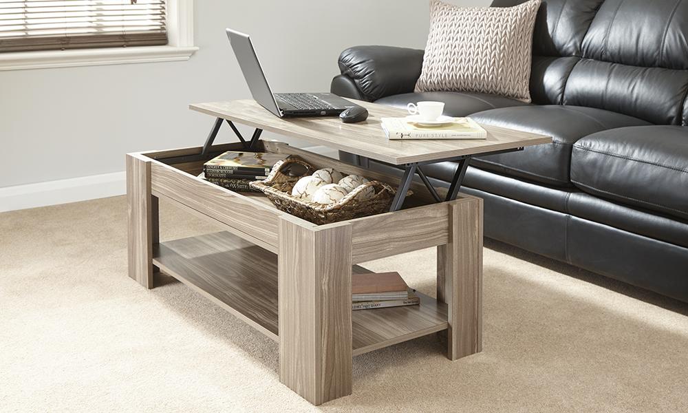 New Caspian Walnut Lift Top Coffee Table With Storage Shelf Ebay