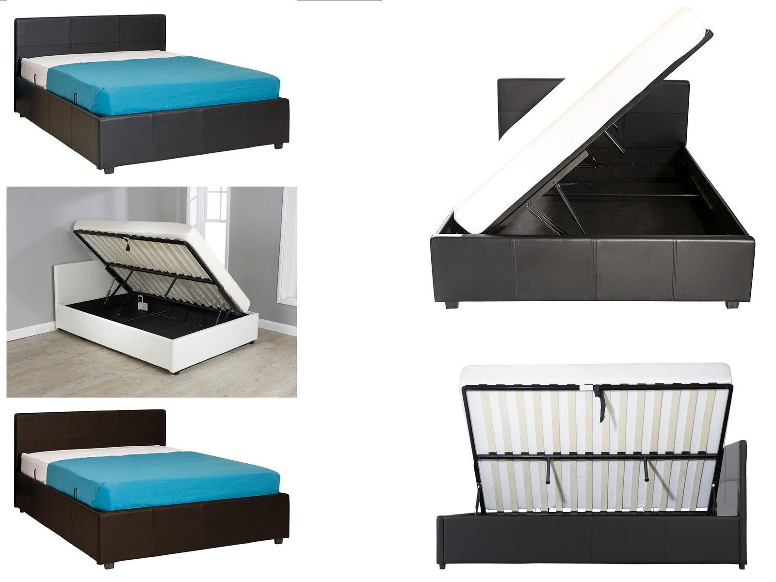 Seattle Side Lift Ottoman Bed Single Double King Black