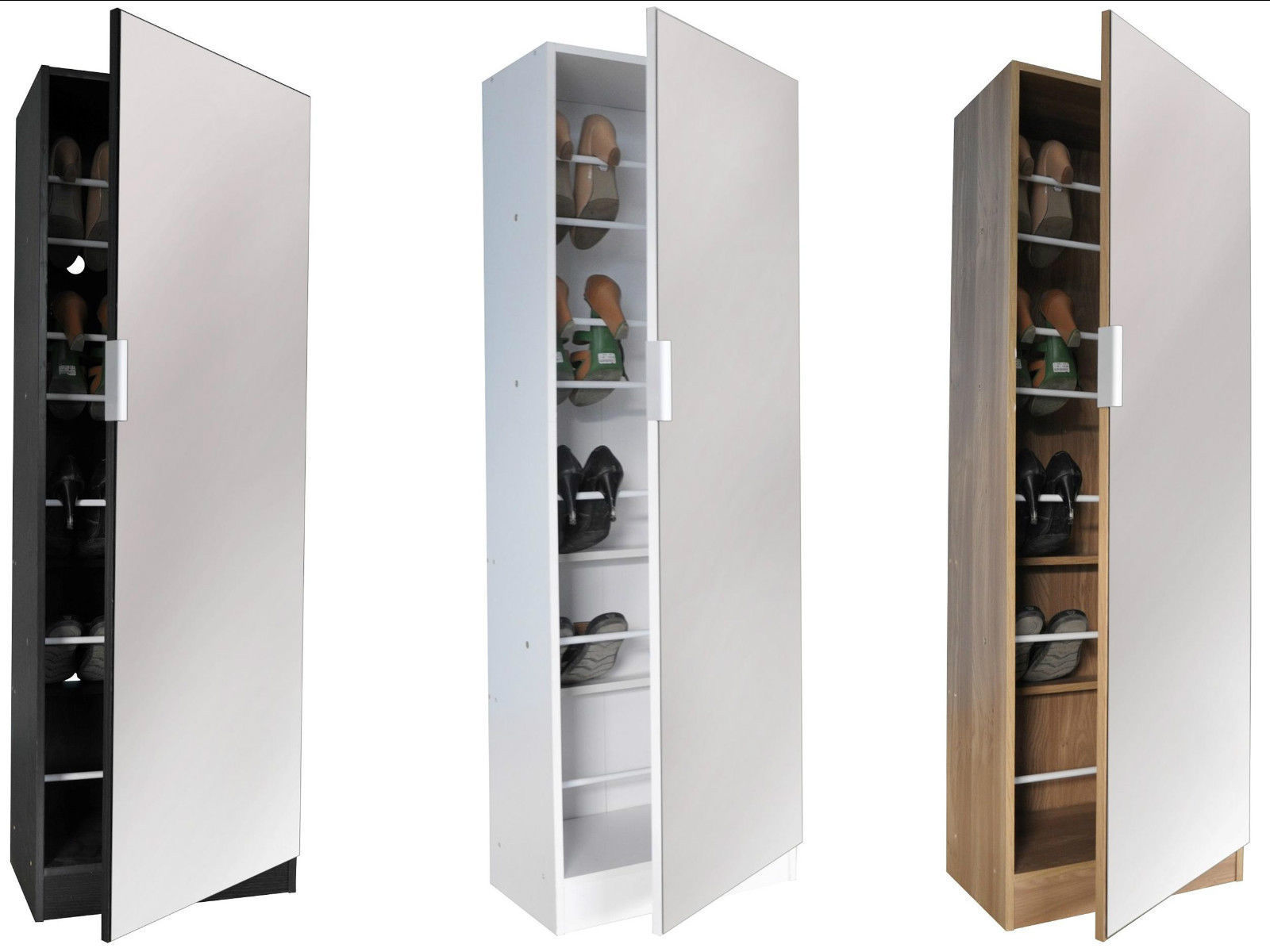 Prime Details About 5Ft Mirrored Shoe Cabinet Storage 150Cm 5 Tier Full Mirror Black White Oak Download Free Architecture Designs Grimeyleaguecom