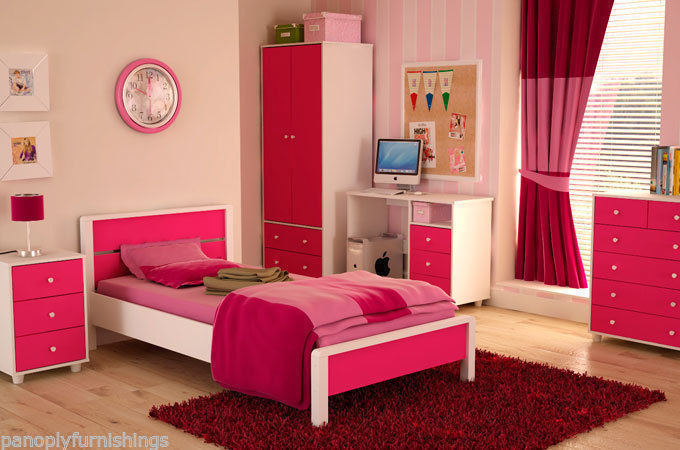 Miami Pink Girls Bedroom Furniture Range Wardrobe Bed Drawers