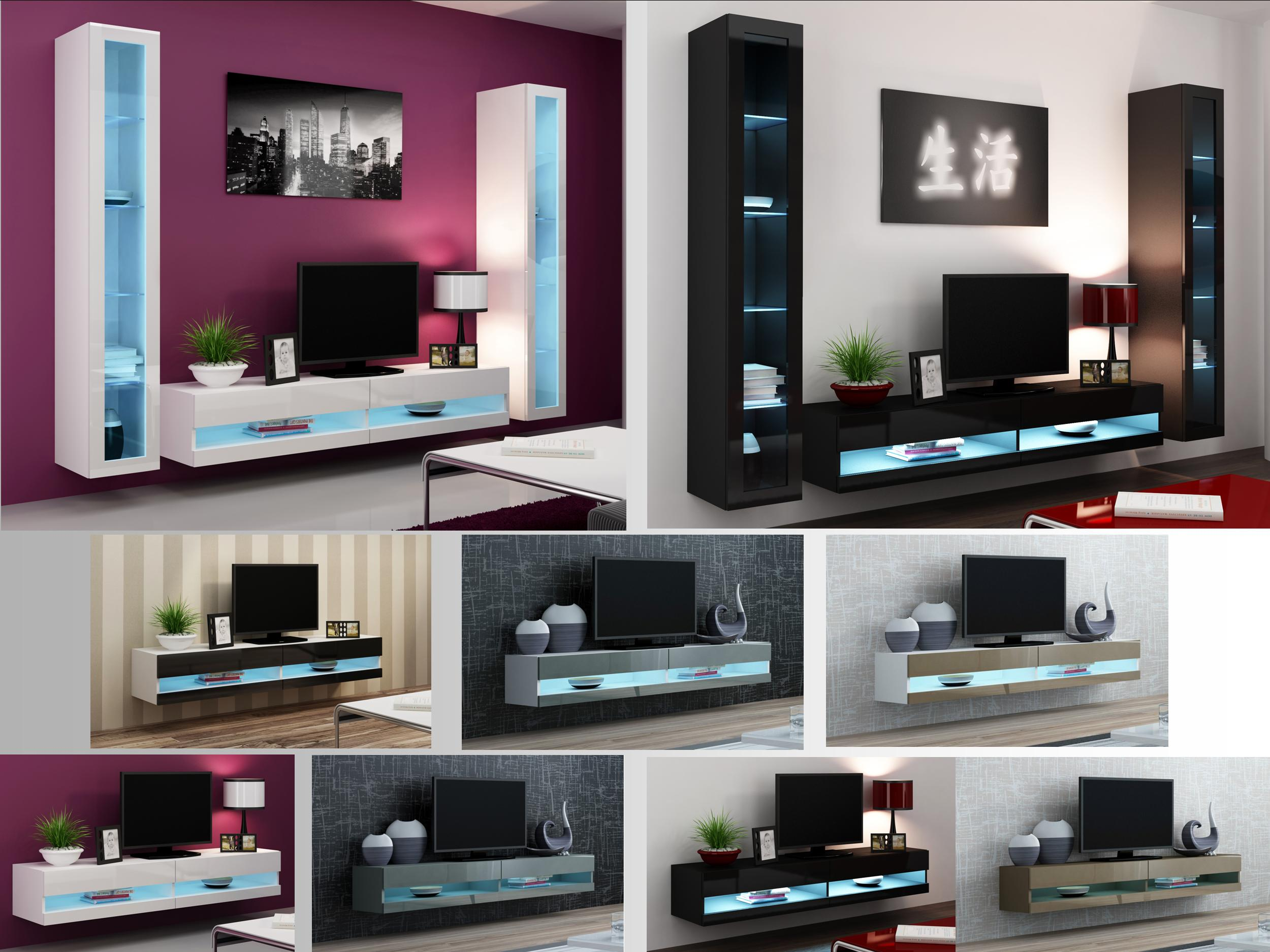 High Gloss Living Room Furniture Tv Stand Wall Mounted Cabinet Led Lights Ebay