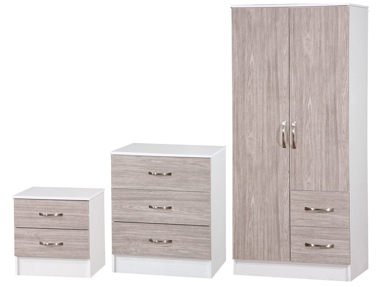 Grey Oak Amp White 3 Piece High Gloss Bedroom Furniture Set