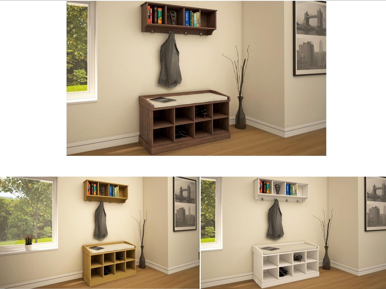 new styles 21224 dc198 Details about Hallway Furniture Storage Bench & Wall Storage Shelf Rack  with Coat Hooks