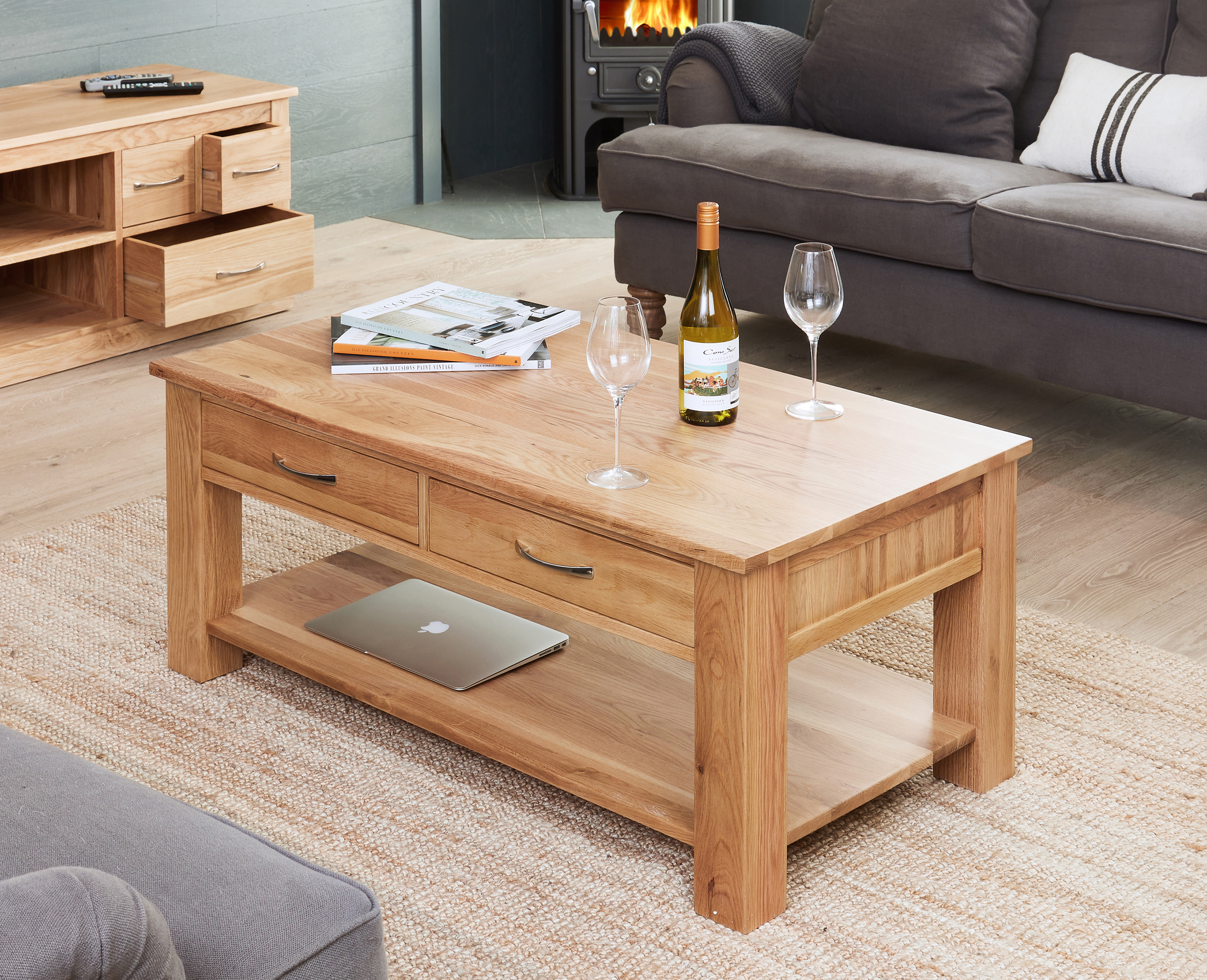 baumhaus mobel oak coffee table with 4 drawers solid oak