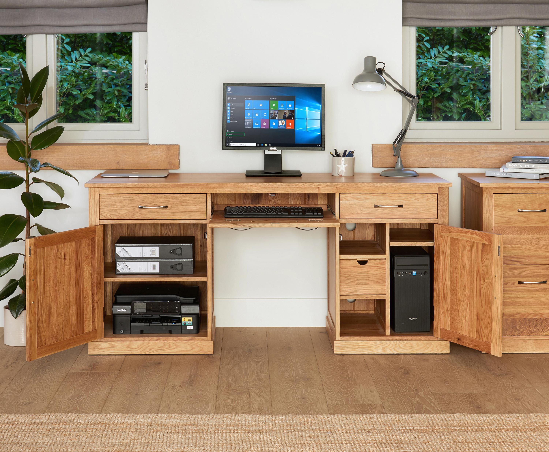 baumhaus mobel oak large hidden office twin pedestal computer desk solid oak