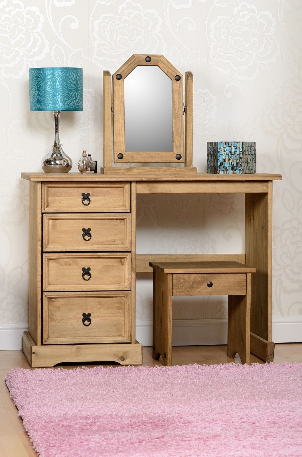Dressing Table Chairs And Stools: Corona Wooden Dressing Table Set With Stool And Mirror