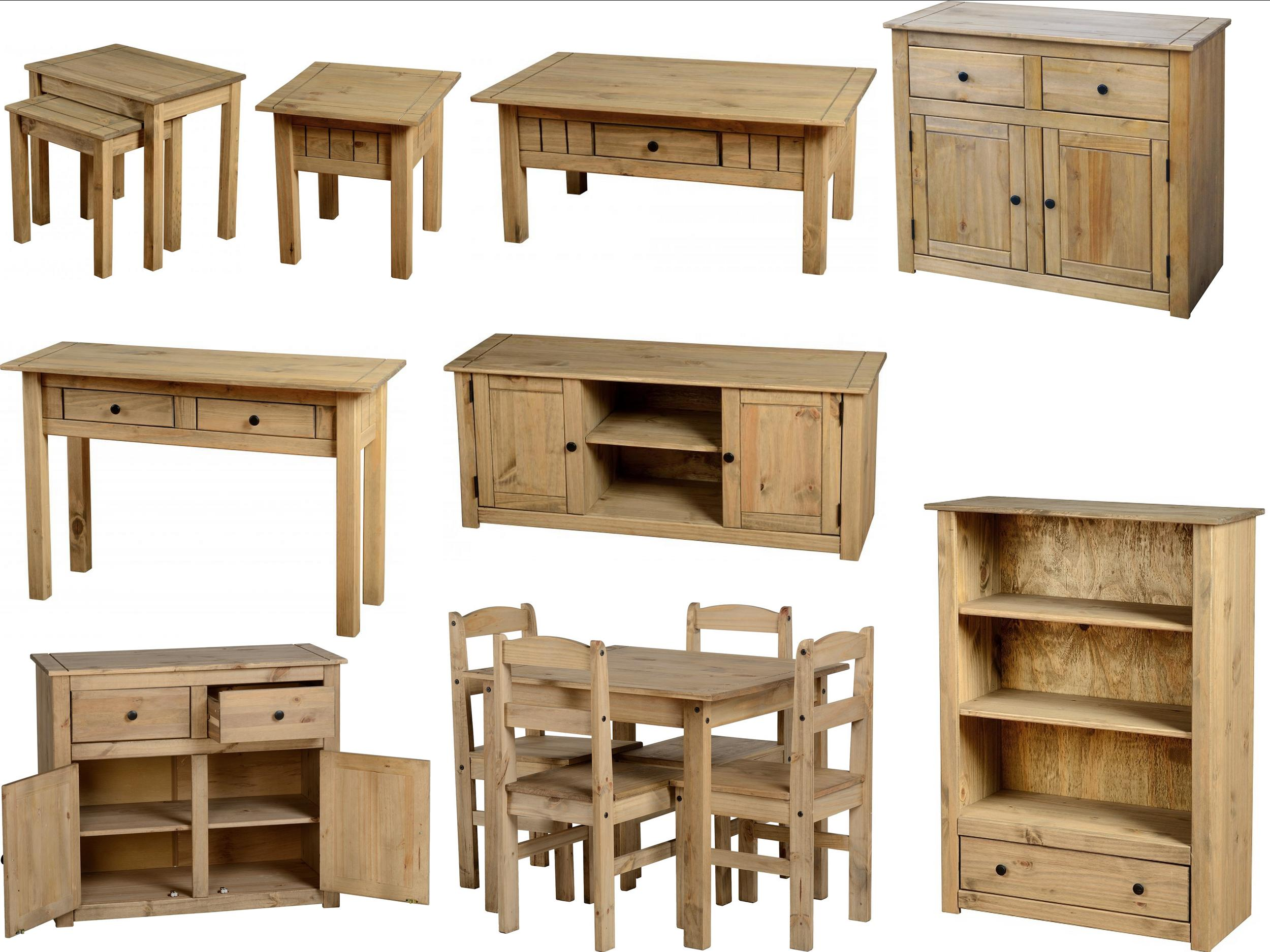 Details about panama mexican pine furniture dining set nest coffee tables bookcase sideboard