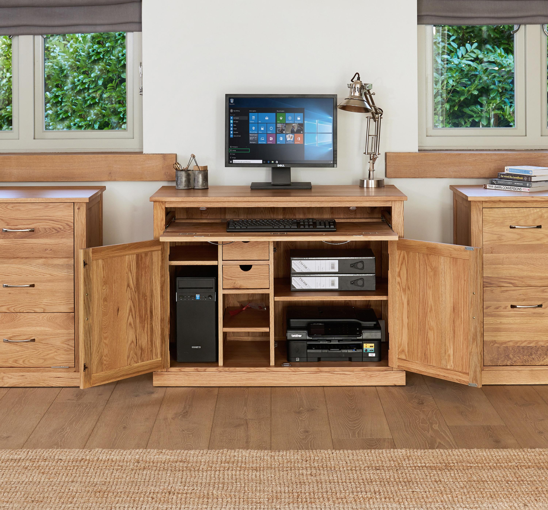 baumhaus mobel oak hidden office workstation solid oak pc computer desk