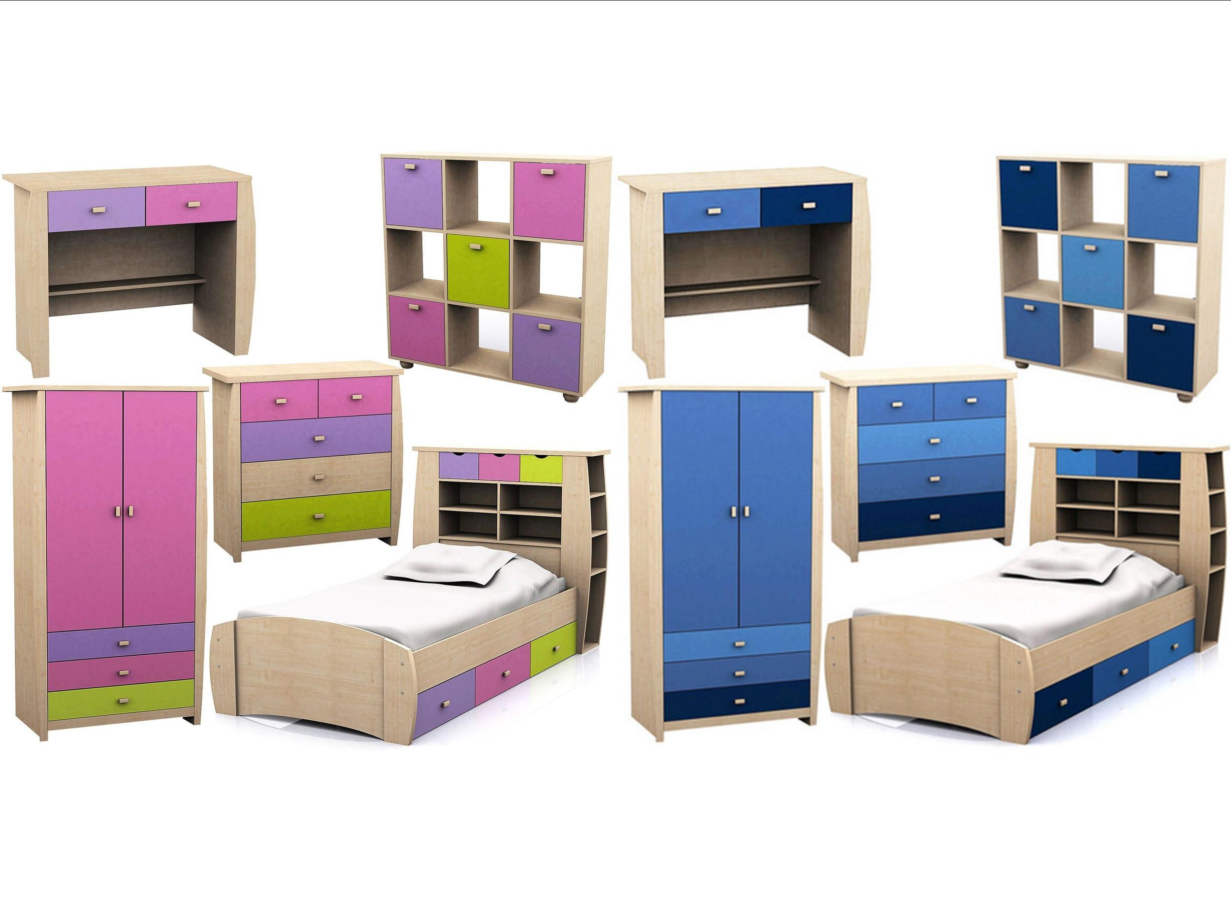 Details about Childrens Pink or Blue Bedroom Furniture -  Bed,Wardrobe,Chest,Desk Sydney Range