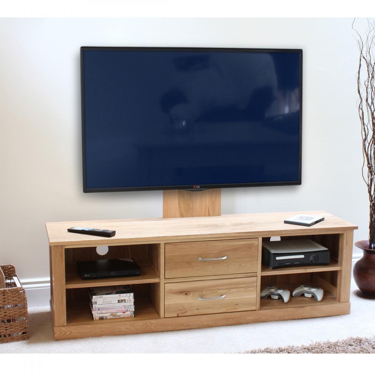 details about baumhaus mobel oak widescreen tv cabinet mounted adjustable bracket solid oak