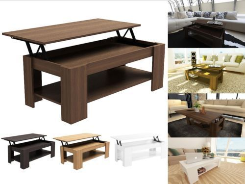 Caspian modern lift up top coffee table with storage espresso oak walnut white ebay Lift top coffee tables storage